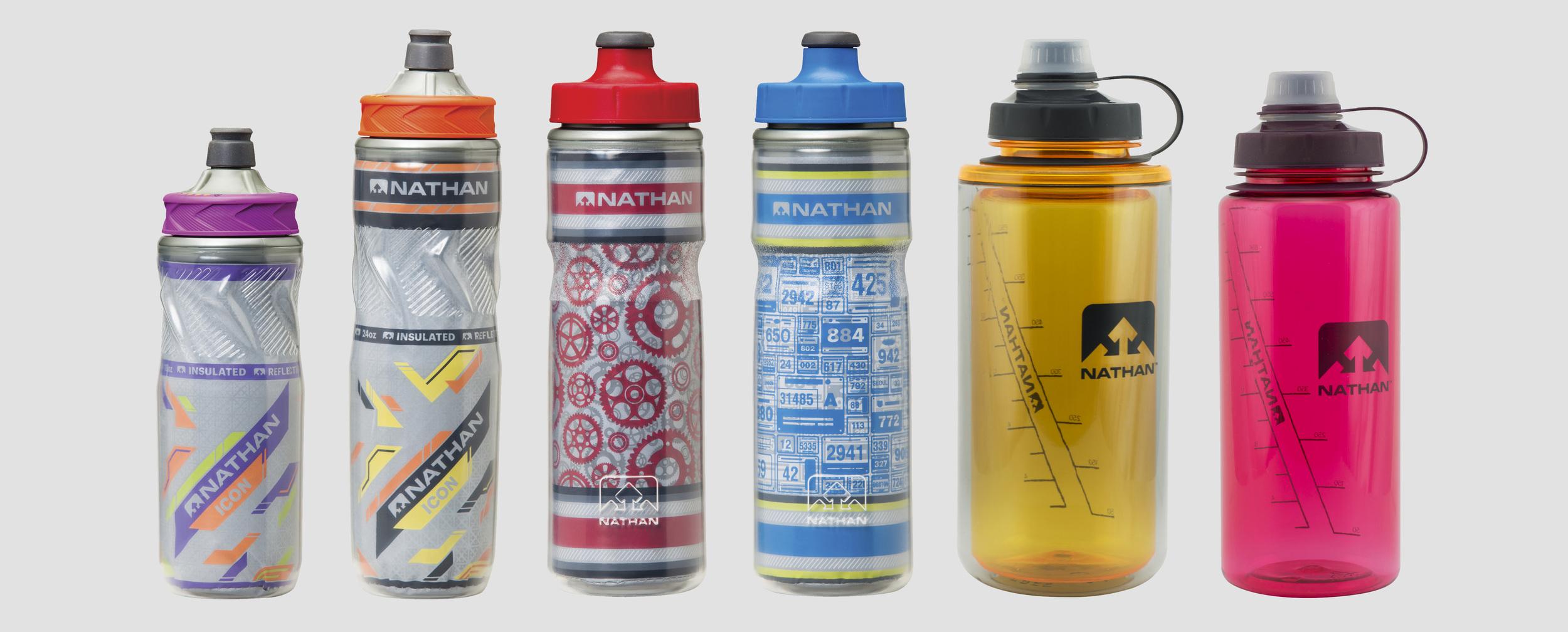 Icon 18oz Insulated bottle, Icon 22oz Insulated bottle, Freewheele  Insulated bottle r, Road 2 Run Insulated bottle, DoubleShot (750mL) bottle, LittleShot (750mL) bottle.