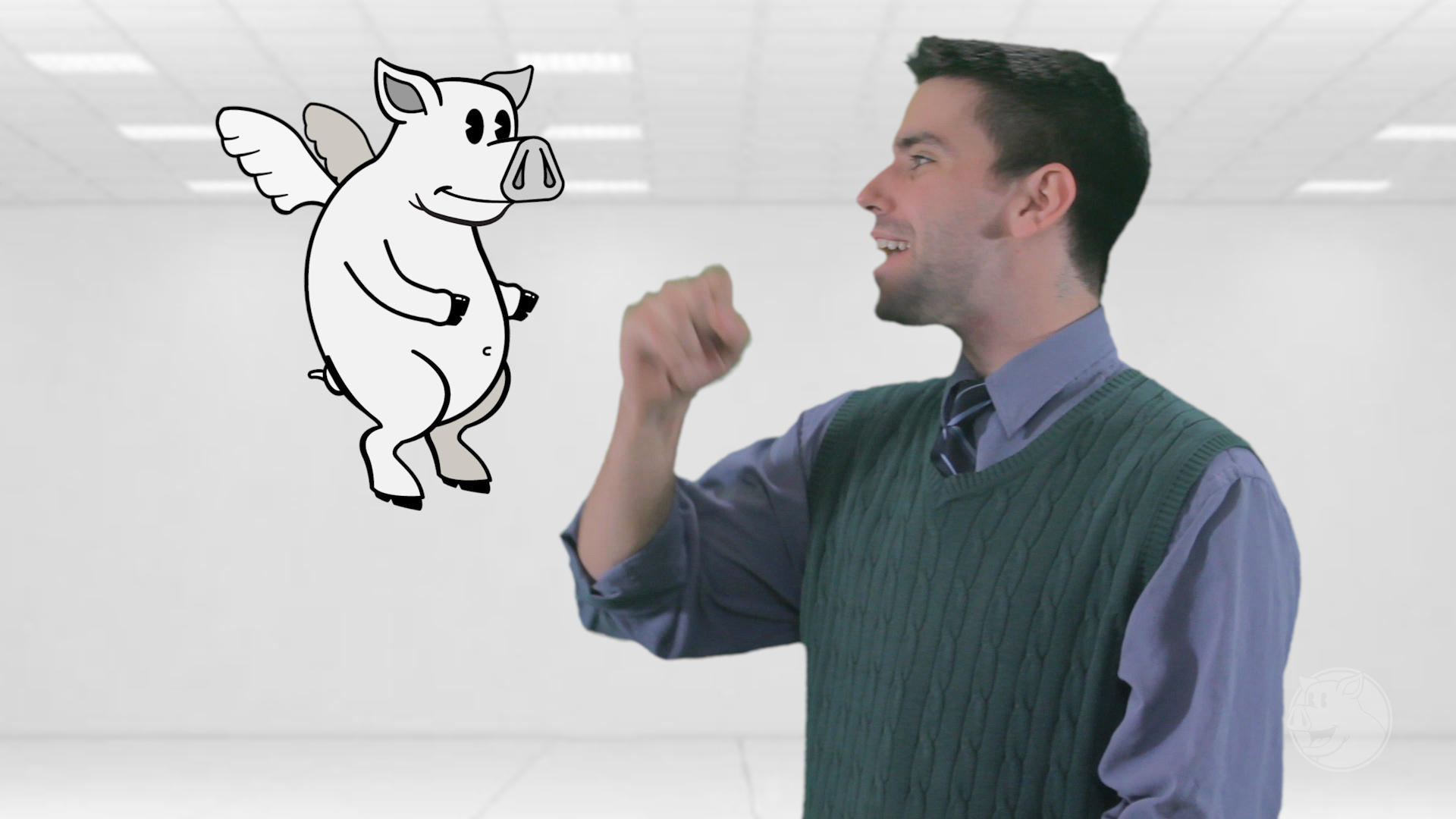 The illustrated and animated flying pig mascot for  Belly Bacon  is a figment of the narrator's imagination.