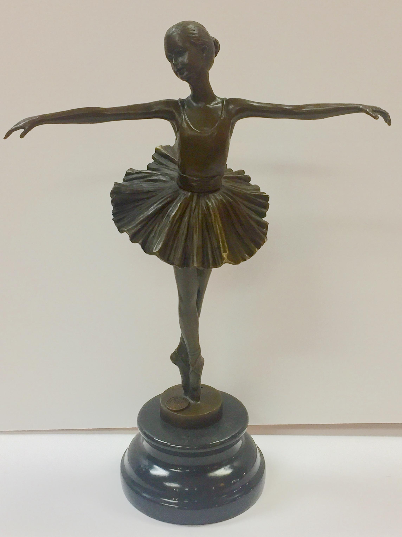 French Bronze Ballerina Sculpture —