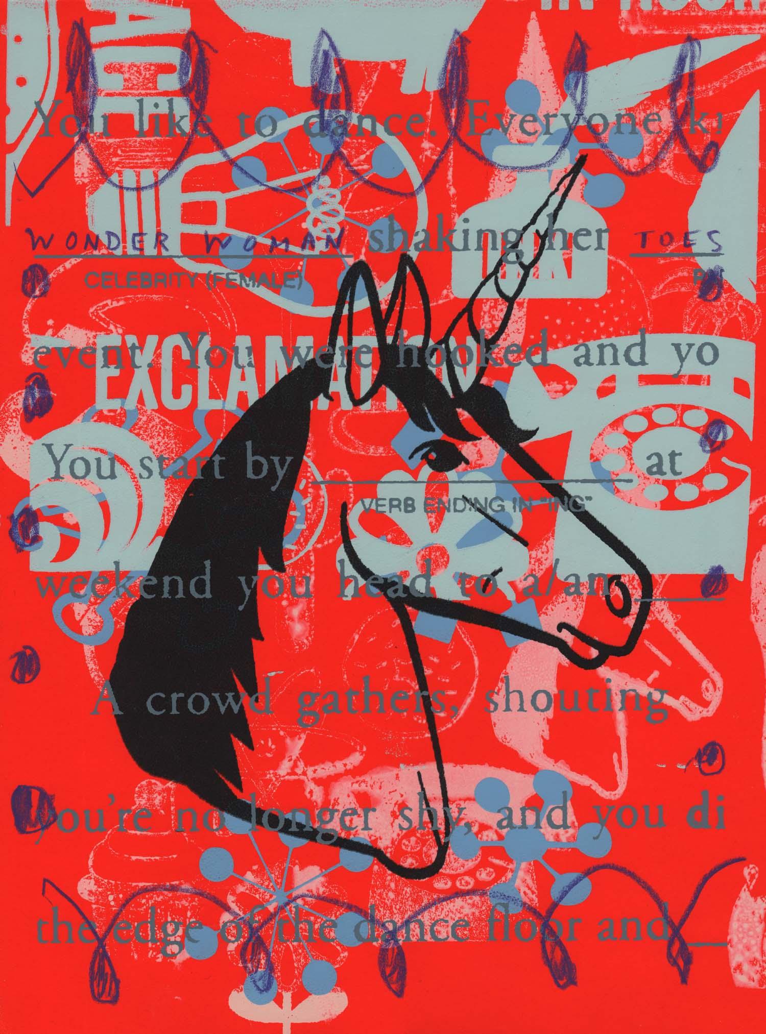 "Mad Libs- Unicorn , Peter Mars, American Pop Art, 15x20"""