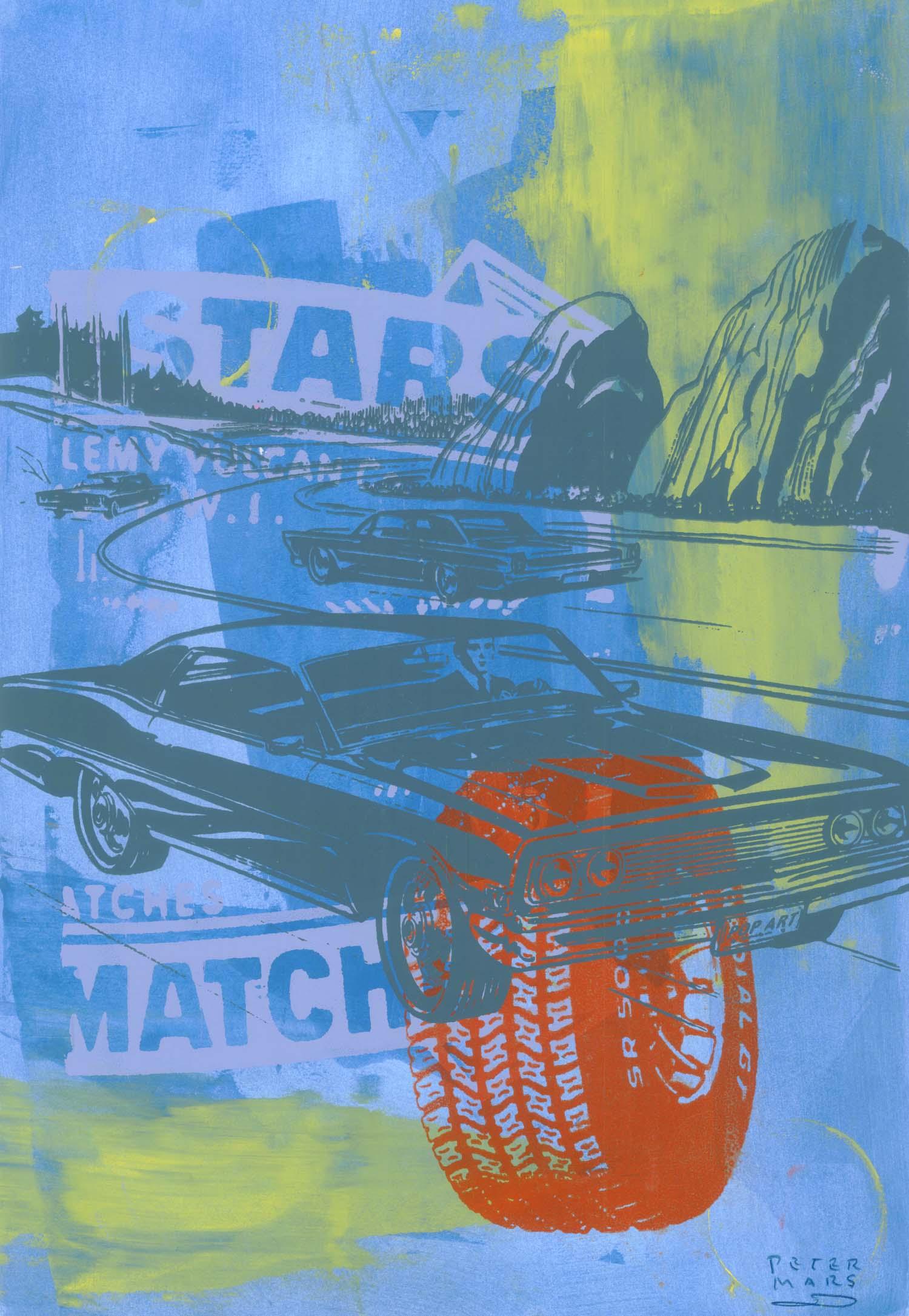 "On the Road , Peter Mars, American Pop Art, 15x20"""