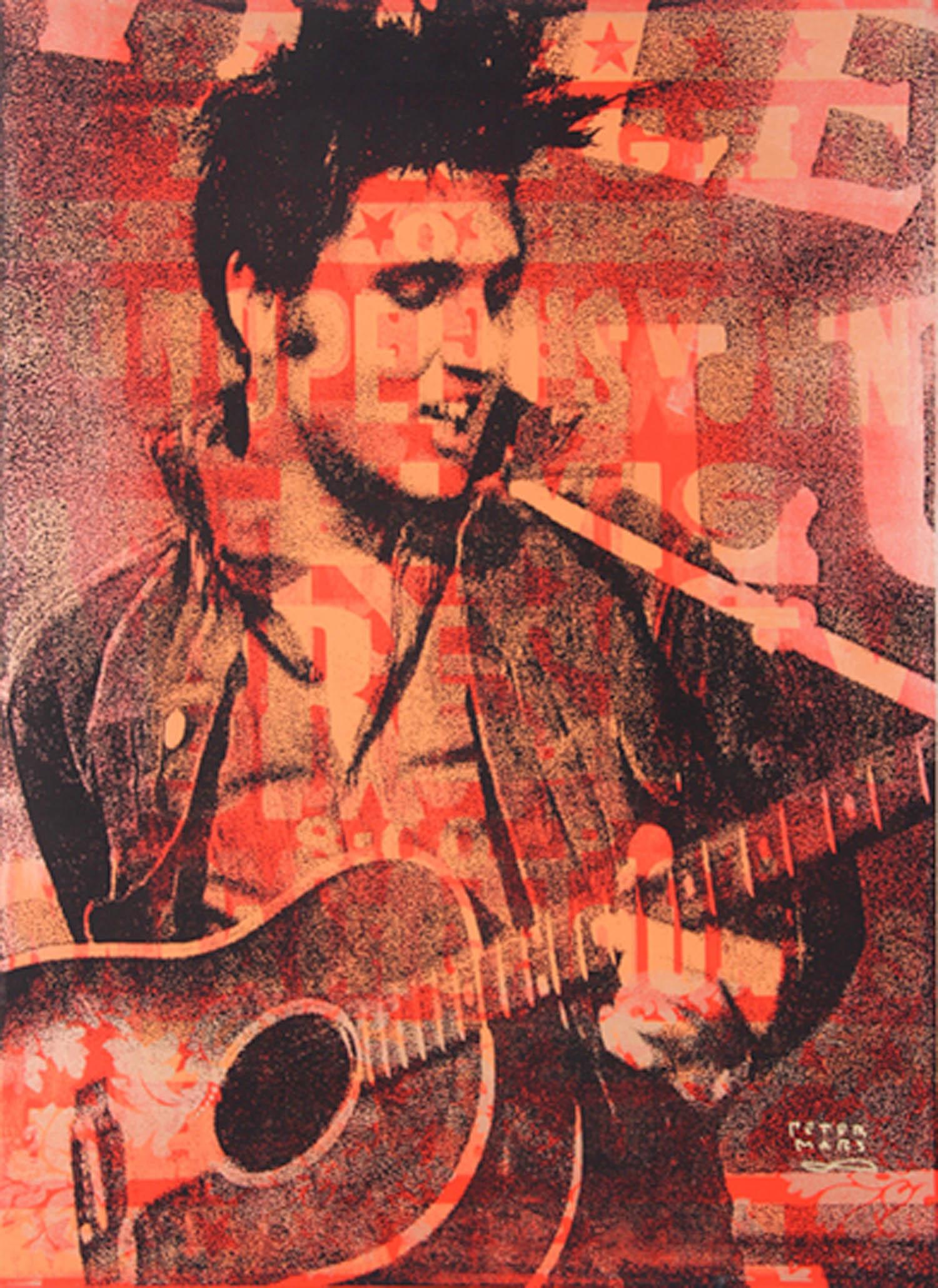 "Rockin' Elvis , Peter Mars, American Pop Art, 48x36"""
