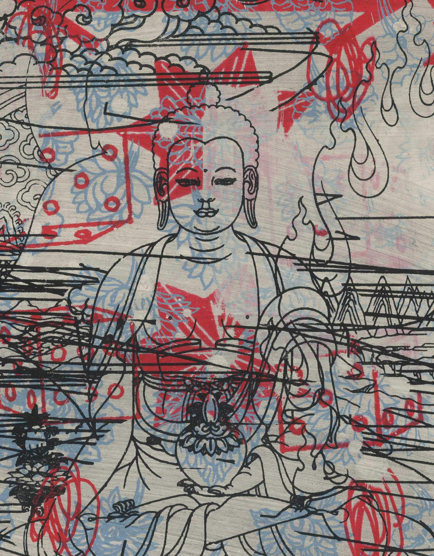 "Medicine Buddha , Peter Mars, American Pop Art, 15x20"""