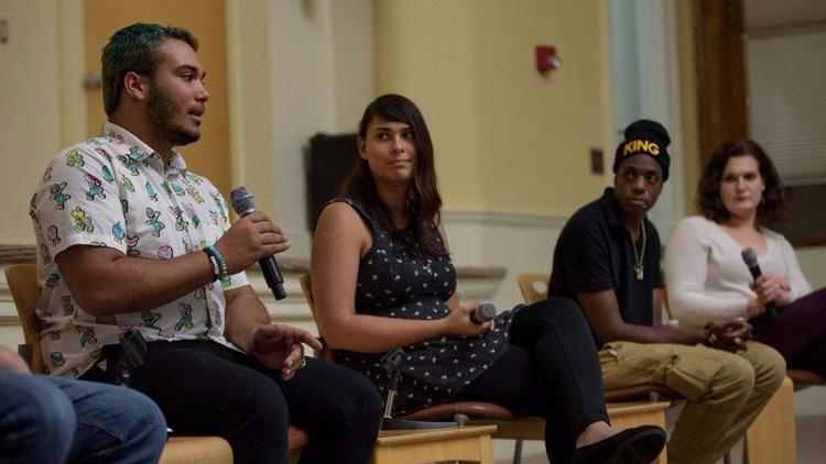 """Jay Perry summarized the tenor of a panel discussion on youth homelessness Thursday night.   http://www.courant.com/community/hartford/hc-news-hartford-lgbt-youth-discussion-20171017-story.html   """"It all comes down to this:  we have a voice, and it needs to be heard ,"""" Perry said inside The Lyceum.  """"People who run the system make their voices heard and speak freely. We should be able to, too.""""   Perry's comment came at the height of an intimate, illuminating talk about one of the state's most vulnerable populations: LGBTQ homeless youth.  The panel, organized by the Melville Charitable Trust,  brought stakeholders in the supportive-housing system together with some of those youth themselves  to mend gaps in understanding and empathy. High school teachers, shelter workers and youth-group organizers sought out the conversation, hosted by Ryan Berg, an author and homeless-youth counselor.  """"These young people often have been neglected by their families and  traumatized by public systems that leave them alienated ,"""" said Aimee Hendrigan, the vice president of Melville, a New Haven-based nonprofit. """"Discussion likes these are so much more relevant in this political climate, where we're seeing protections stripped away from LGBT people.""""  The Connecticut Coalition To End Homelessness estimates that 4,396 youth under 25 are """"homeless or unstably housed,""""  according to a May report . And within that number, 23 percent self-identify as """"lesbian, gay, bisexual, transgender, queer, intersex or asexual.""""   """"We know youth can't be the token seat at the table,"""" Hendrigan said. """"We have to hear their voices, listen to their voices and take their input into our planning.""""   At Thursday's panel discussion,  no topic was off limits.   Like Angel Cotto, who once ran away from home to escape the physical and mental abuse he was facing. Who would join every club he could at school to delay and limit that time there.  Even after being hospitalized because of that abuse, he said, he stil"""