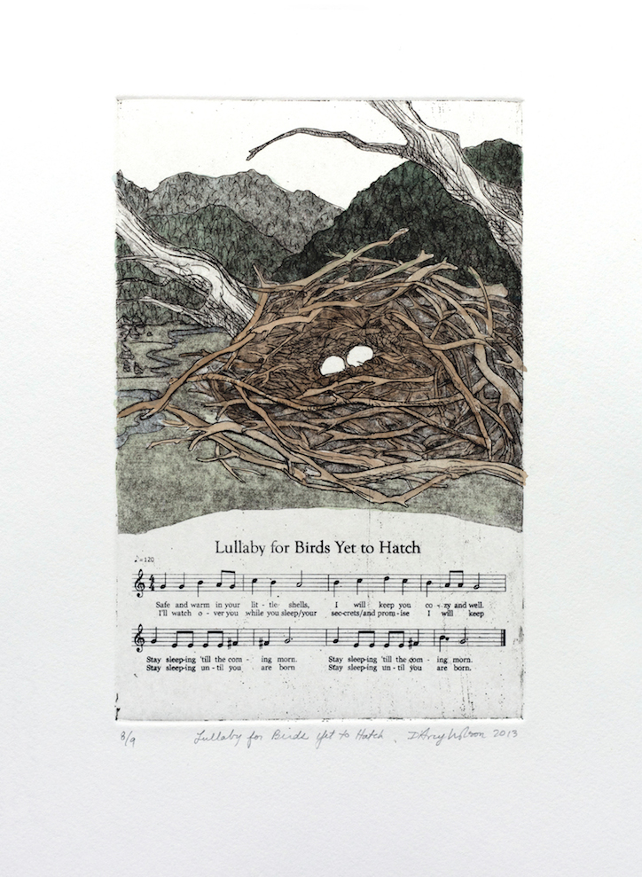 Lullaby for Birds Yet to Hatch, etching, watercolor, and silkscreen on paper, plate dimensions: 6″ x 9″, 2013,  250.00 CAD