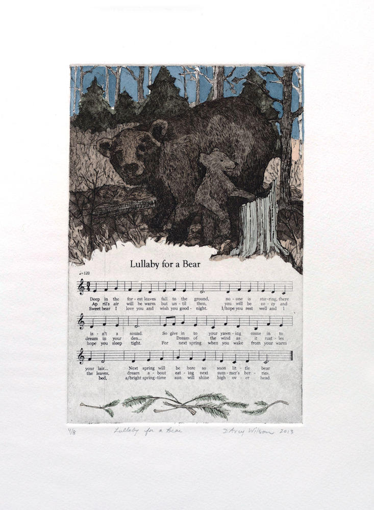 Lullaby for a Bear, etching, watercolor, and silkscreen on paper, plate dimensions: 6″ x 9″, 2013, 250.00 CAD, SOLD