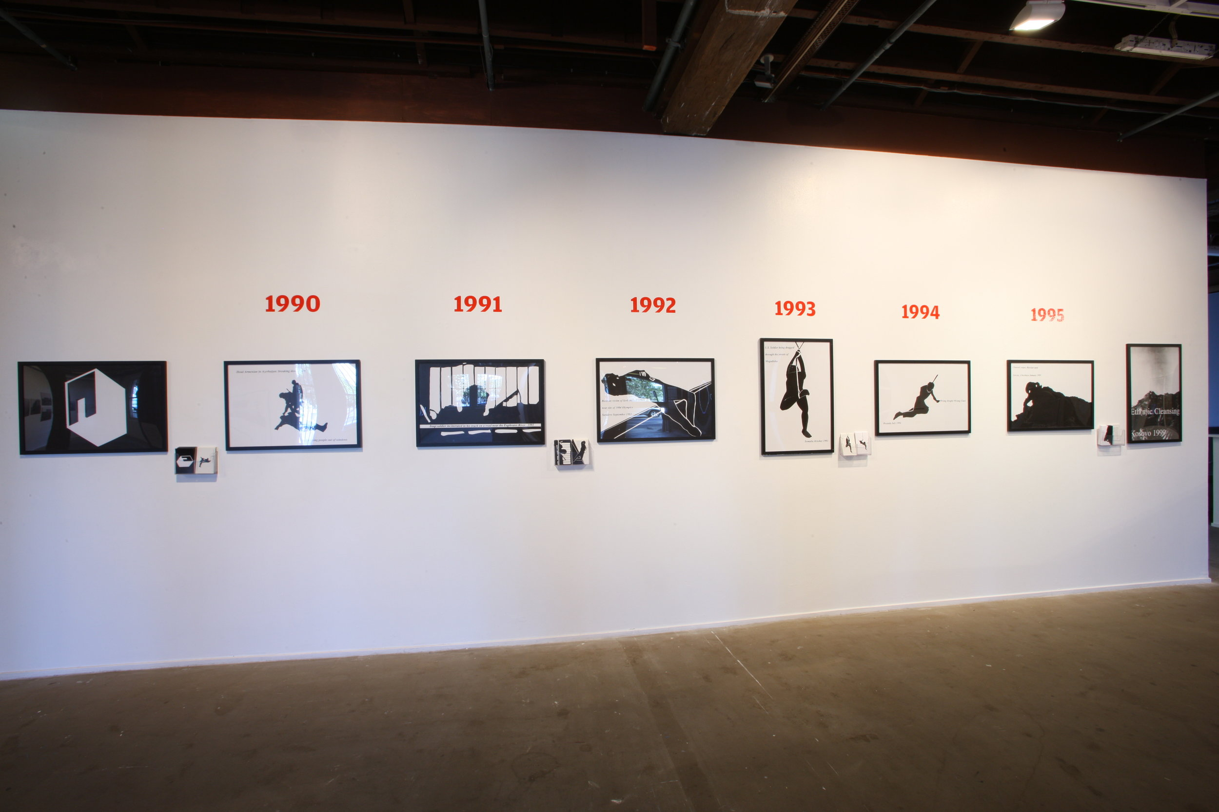 (Installation view) The Precise Distance for Viewing, photo series, postcards, 6×4″