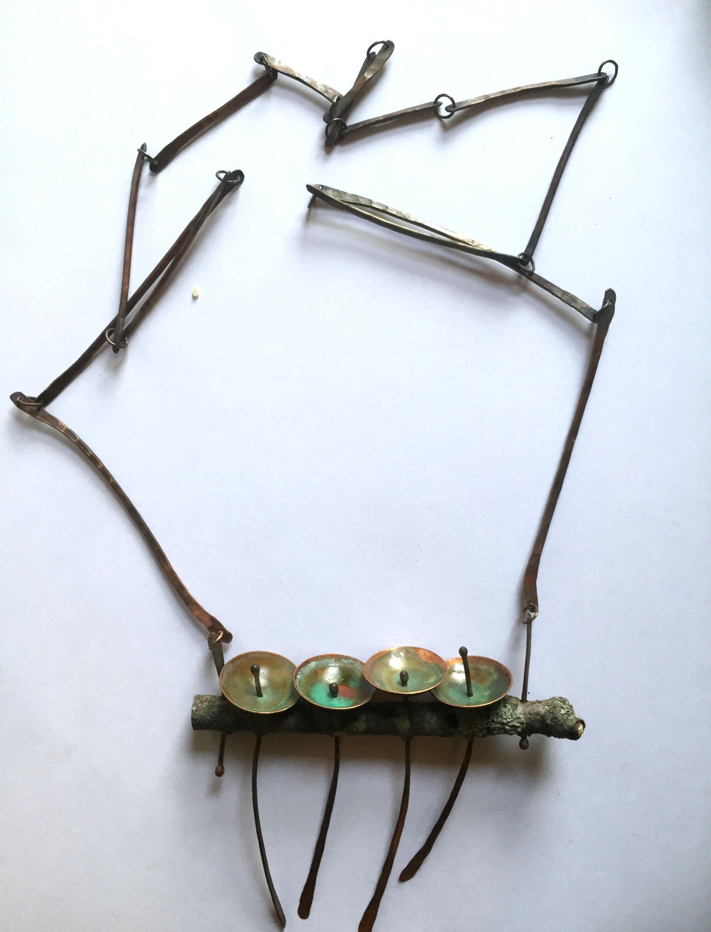 Fence Post Study Necklace 1, Copper, patina, wood 2014, 10cm x 8cm x 1.5cm, Chain length 8cm, 150.00 CAD