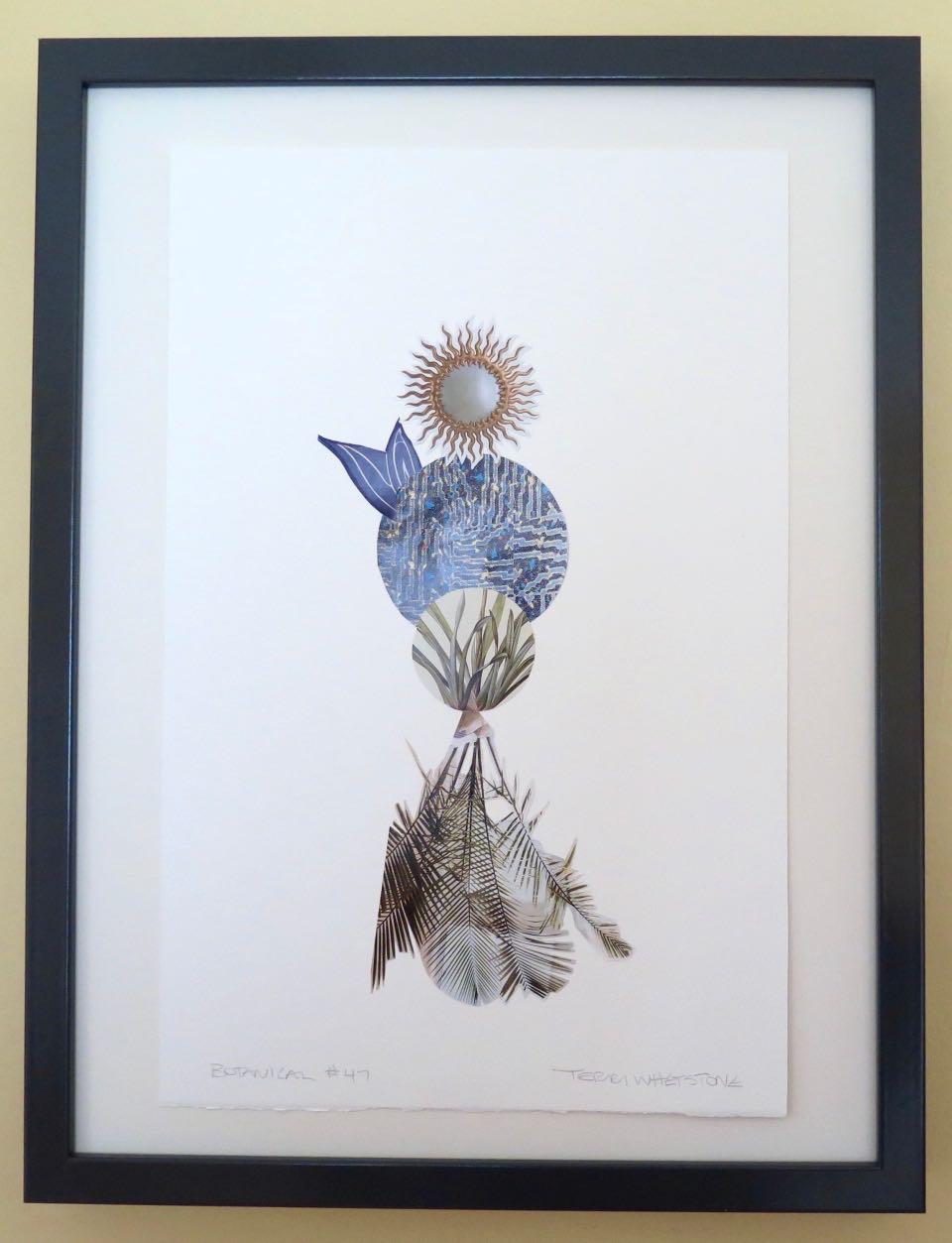 "Botanical 47, 2017, hand cut paper and glue on rag paper, 14"" x 9"", framed: 17"" x 13"", 250 CAD"