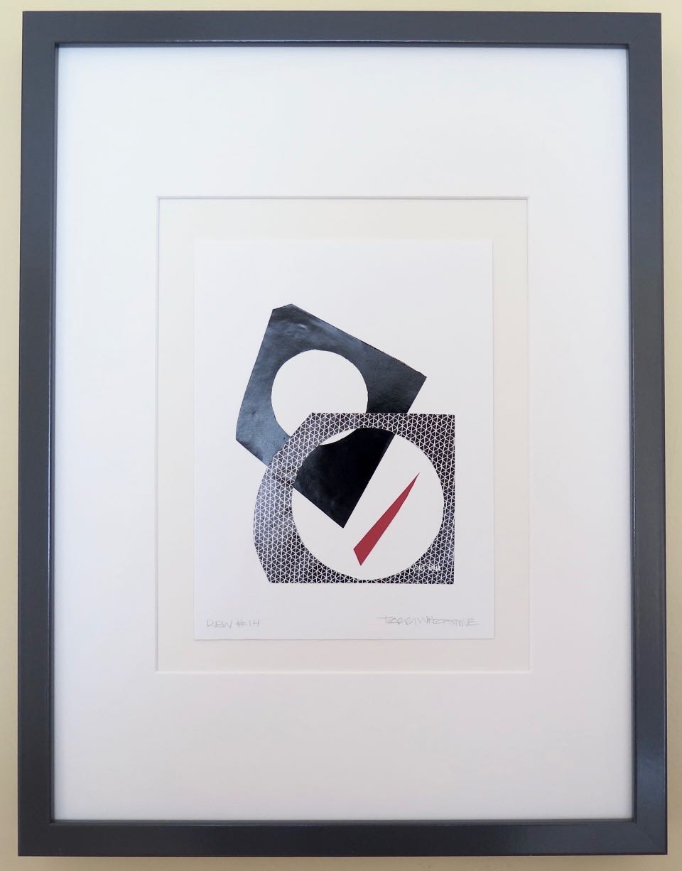 """Red Black White #14, 2017, hand cut paper and glue on vellum, 8"""" x 6"""", framed: 17"""" x 13"""", 200 CAD"""