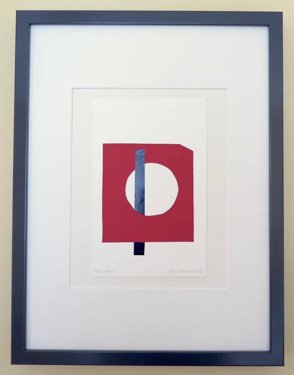 """Red Black White #17, 2017, hand cut paper and glue on watercolour paper, 8.5"""" x 5.5 """", framed: 17"""" x 13"""", 200 CAD"""