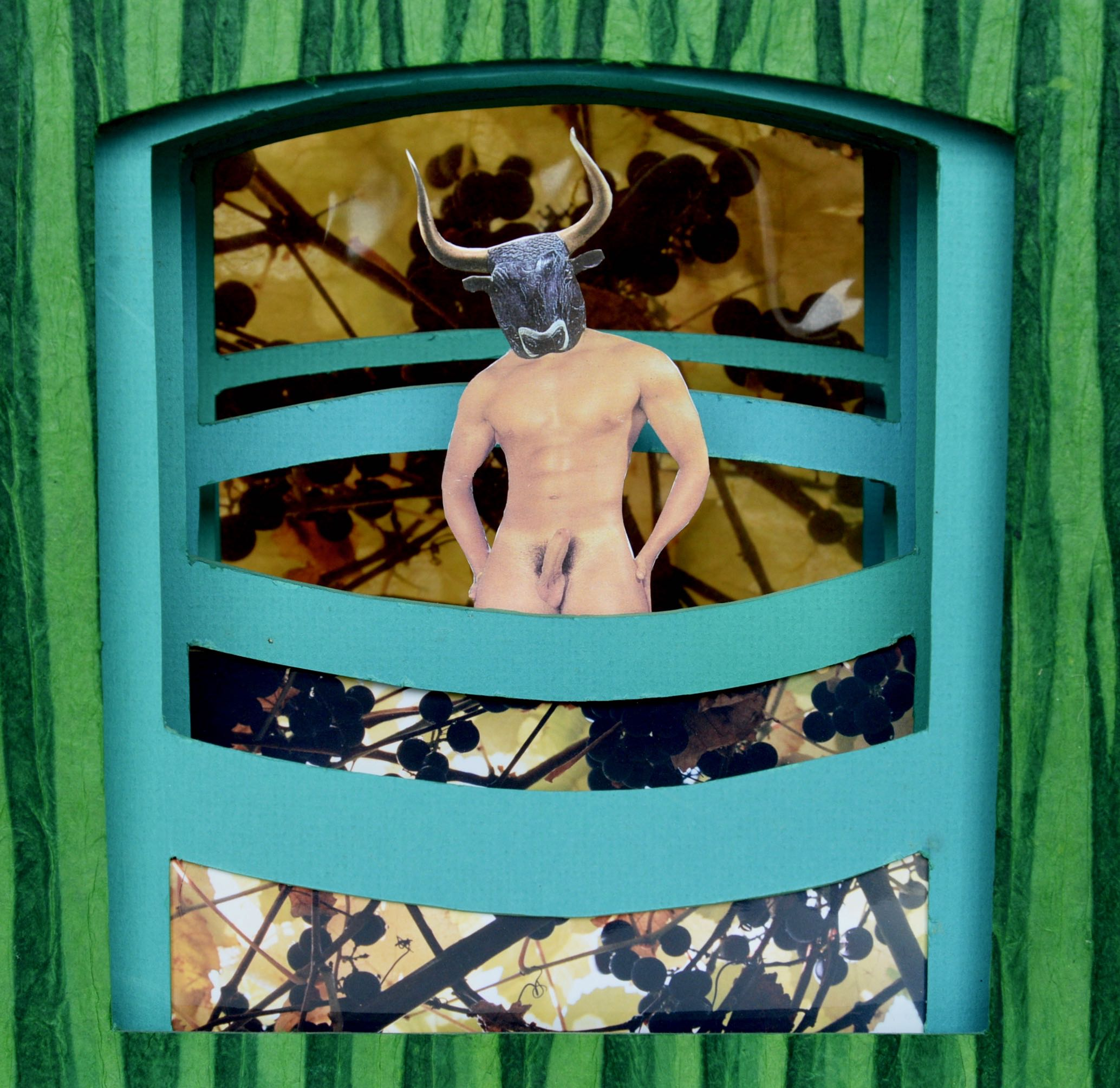"Detail, Minotaur December, 2014, Paper and matt board collage, 9"" X 10"" X 5"", 400 CAD"