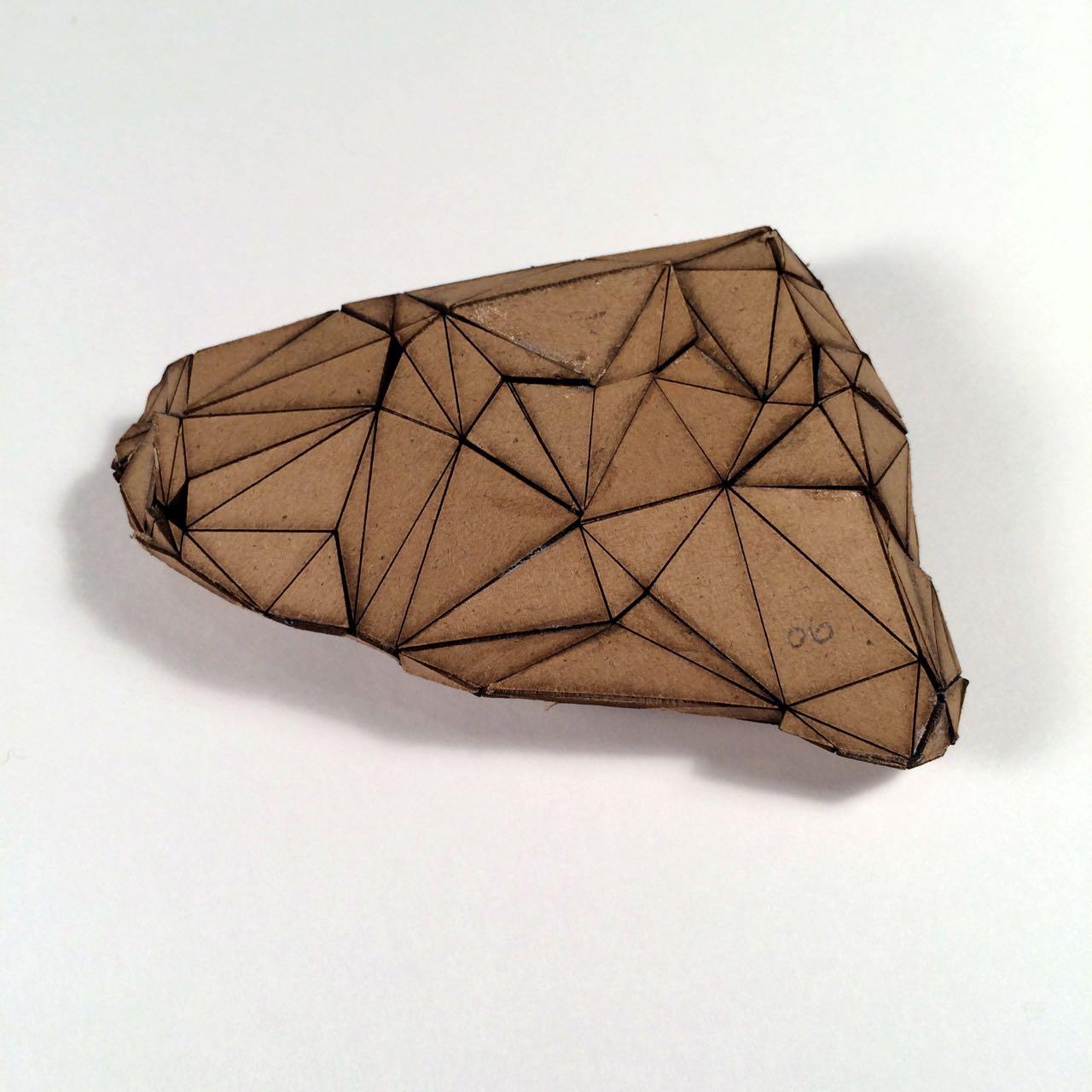 (Front view) 006 - Boxes For Rocks, laser cut cardboard, found rocks, glue, 12cm x 8.5cm x 3cm (flatish), 2012, 250 CAD