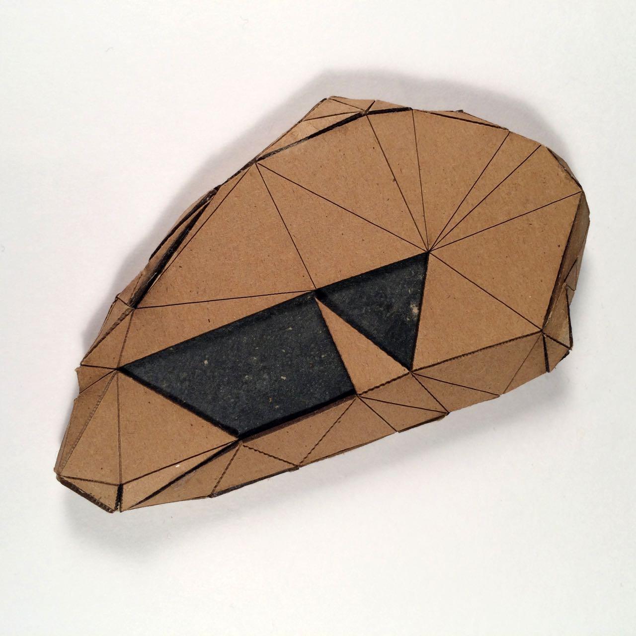 (Back view) 011 - Boxes For Rocks, 2012, laser cut cardboard, found rocks, glue, 13.5cm x 8.5cm x 1.5cm (flat), 250 CAD