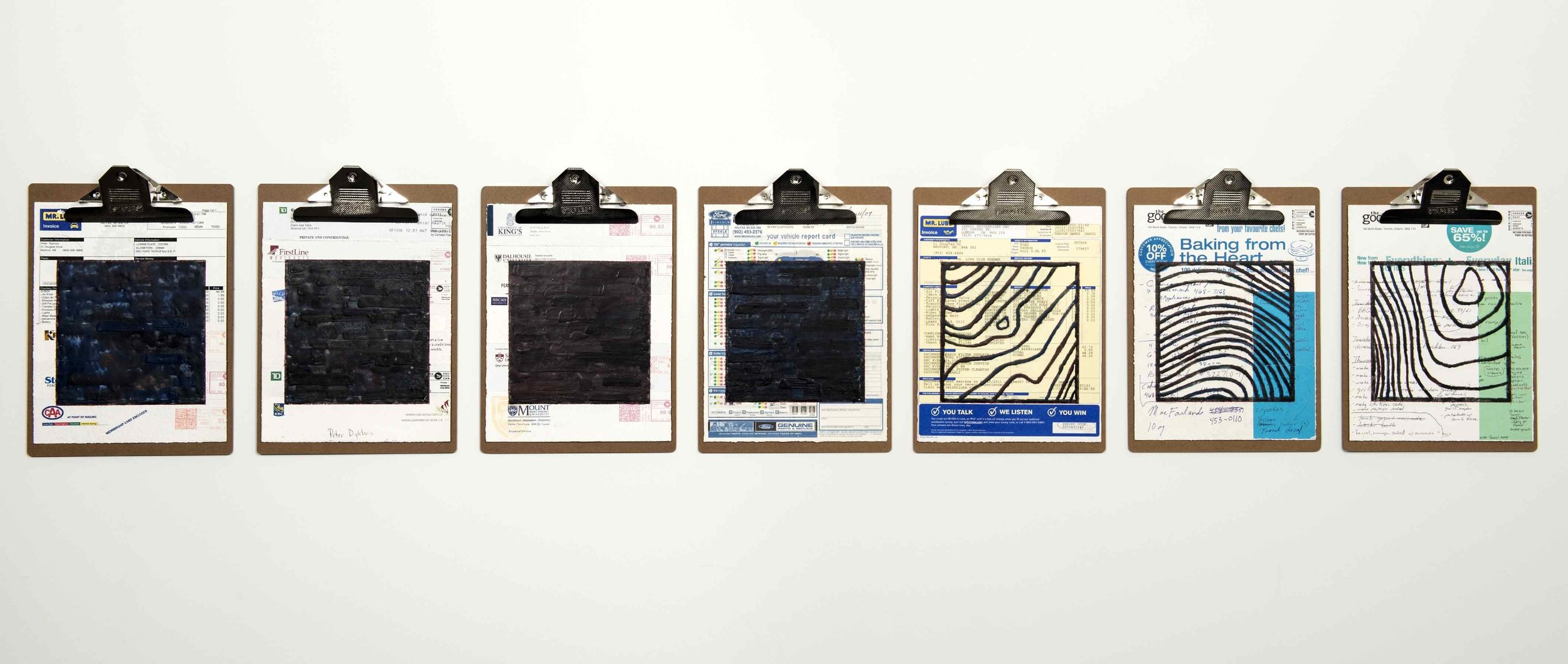 """Home Front #1, 2013 encaustic, mixed media collage on paper, mounted on 7 commercial clipboards, 13"""" × 69"""", installed photo: Steve Farmer, set of clipboards depicted counts as one artwork, 525 CAD"""