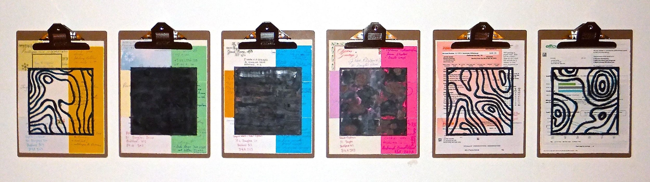 """Home Front #2, 2014 encaustic, mixed media collage on paper, mounted on 6 commercial clipboards, 13"""" × 59"""", set of clipboards depicted counts as one artwork, 450 CAD"""