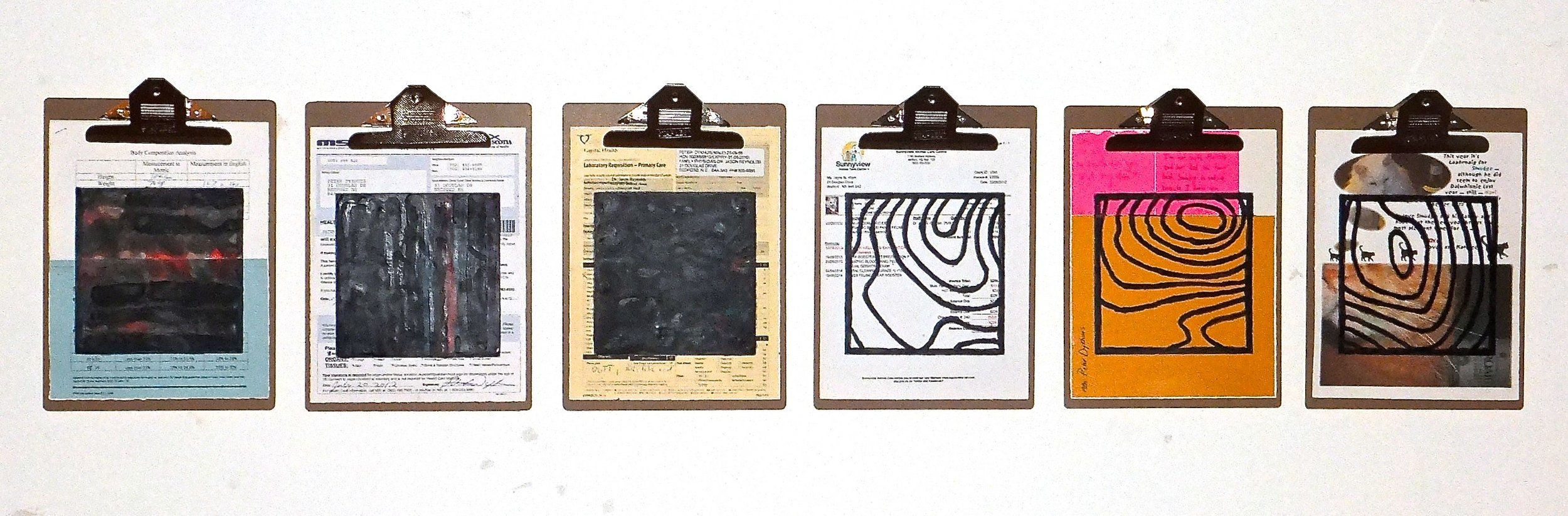 """Home Front #3, 2014 encaustic, mixed media collage on paper, mounted on 6 commercial clipboards, 13"""" × 59"""", set of clipboards depicted counts as one artwork, 450 CAD"""