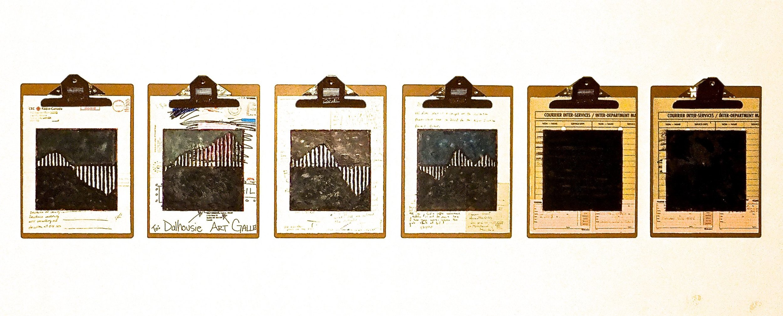 """Work Force #2, 2014 encaustic, mixed media collage on paper, mounted on 6 commercial clipboards, 13"""" × 59"""", set of clipboards depicted counts as one artwork, 450 CAD"""