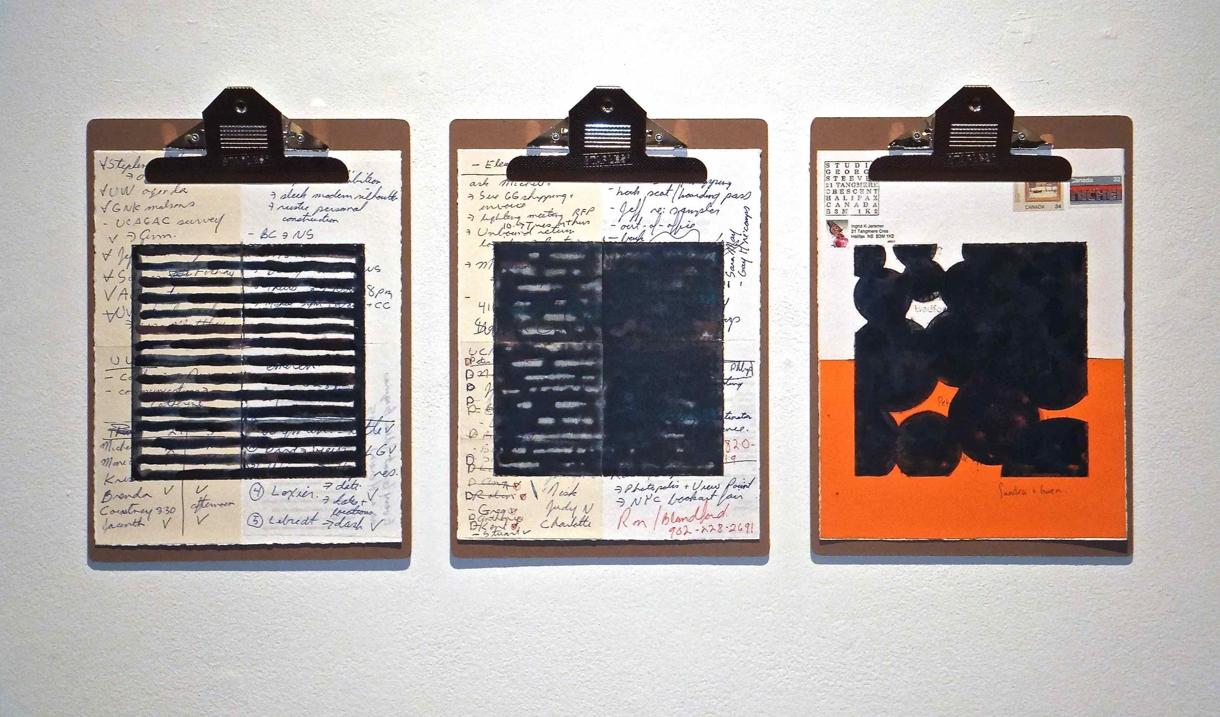 """Work Force #3, 2014, encaustic, mixed media collage on paper, mounted on 3 commercial clipboards, 13"""" × 39"""", set of clipboards depicted counts as one artwork, 225 CAD"""