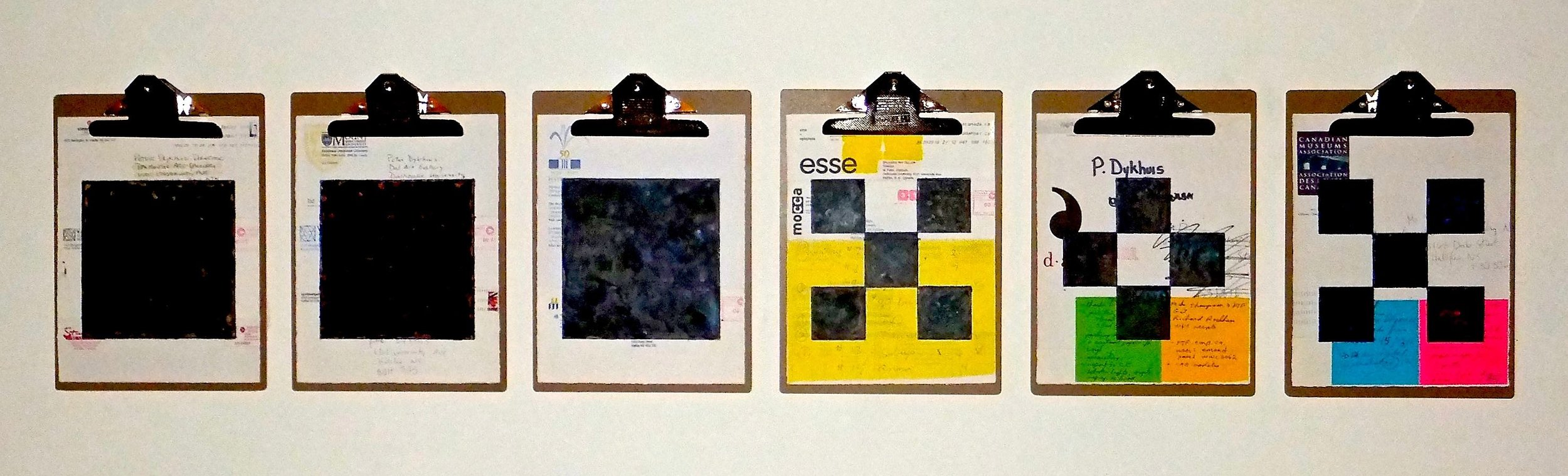 """Art World #1, 2014, encaustic, mixed media collage on paper, mounted on 6 commercial clipboards, 13"""" × 59"""", set of clipboards depicted counts as one artwork, 450 CAD"""