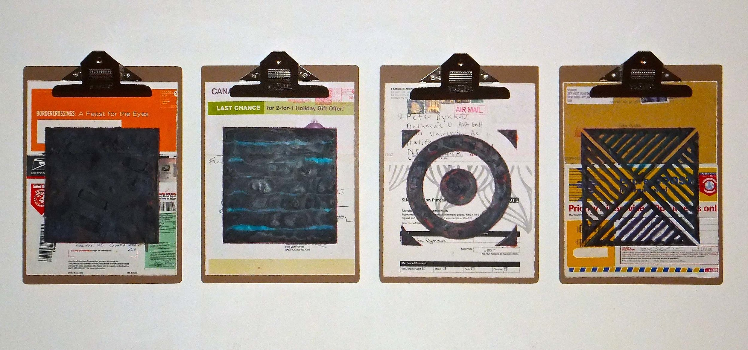 """Art World #2, 2014, encaustic, mixed media collage on paper, mounted on 4 commercial clipboards 13"""" × 39"""", set of clipboards depicted counts as one artwork, 300 CAD"""