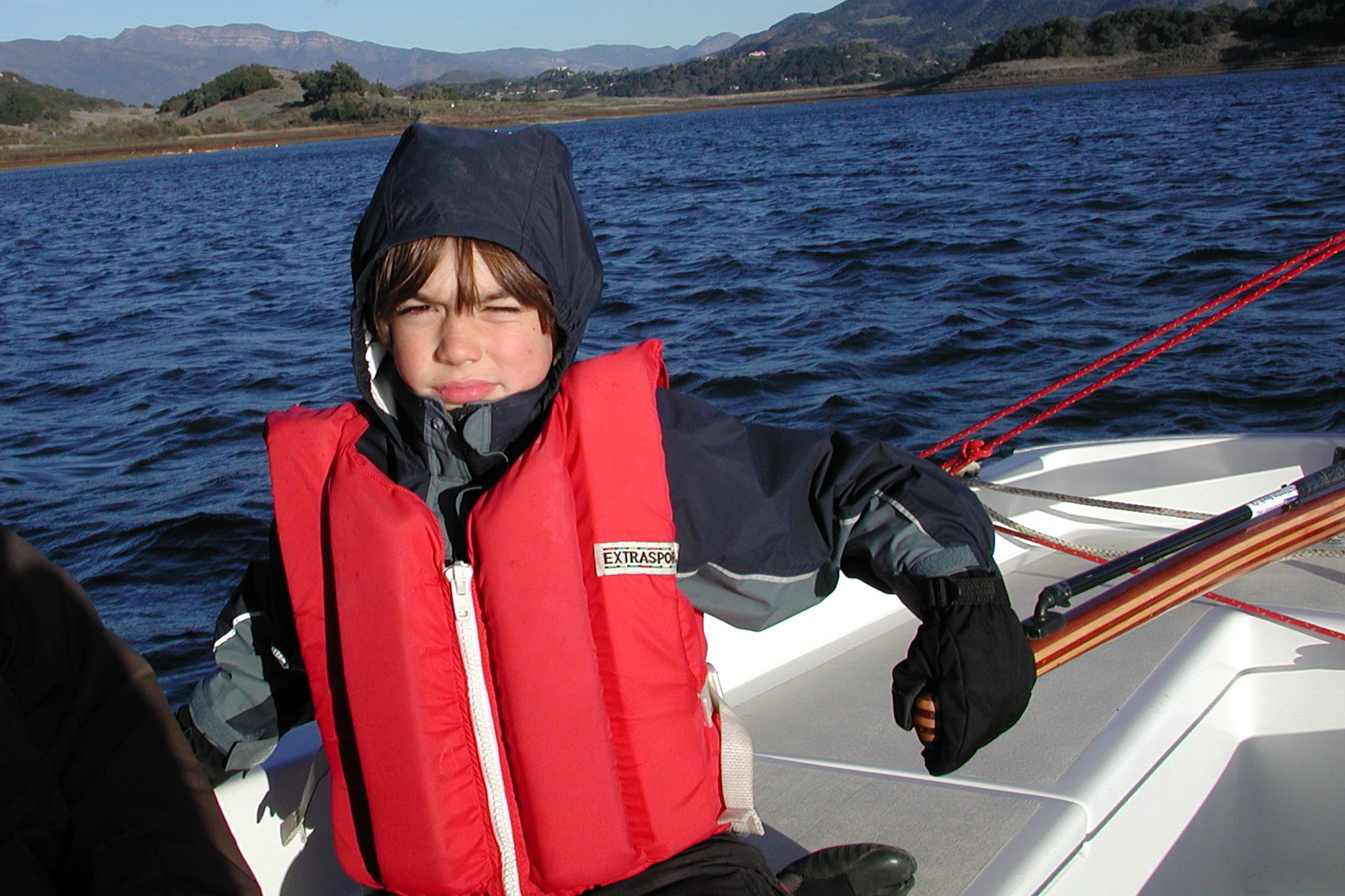 Dane at the helm on the Cal 20 on Lake Casitas