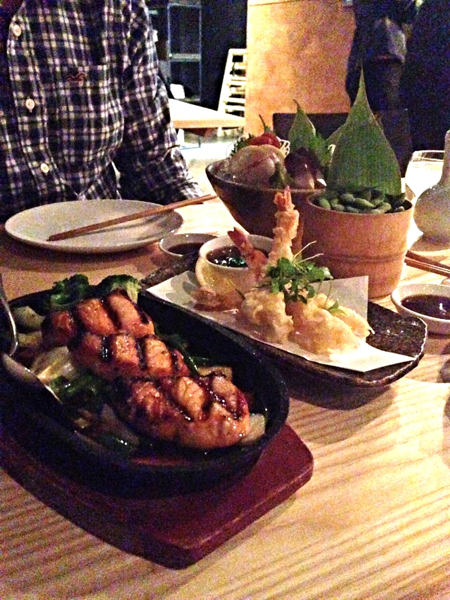 Teriyaki salmon and tempura prawns at Yama Momo