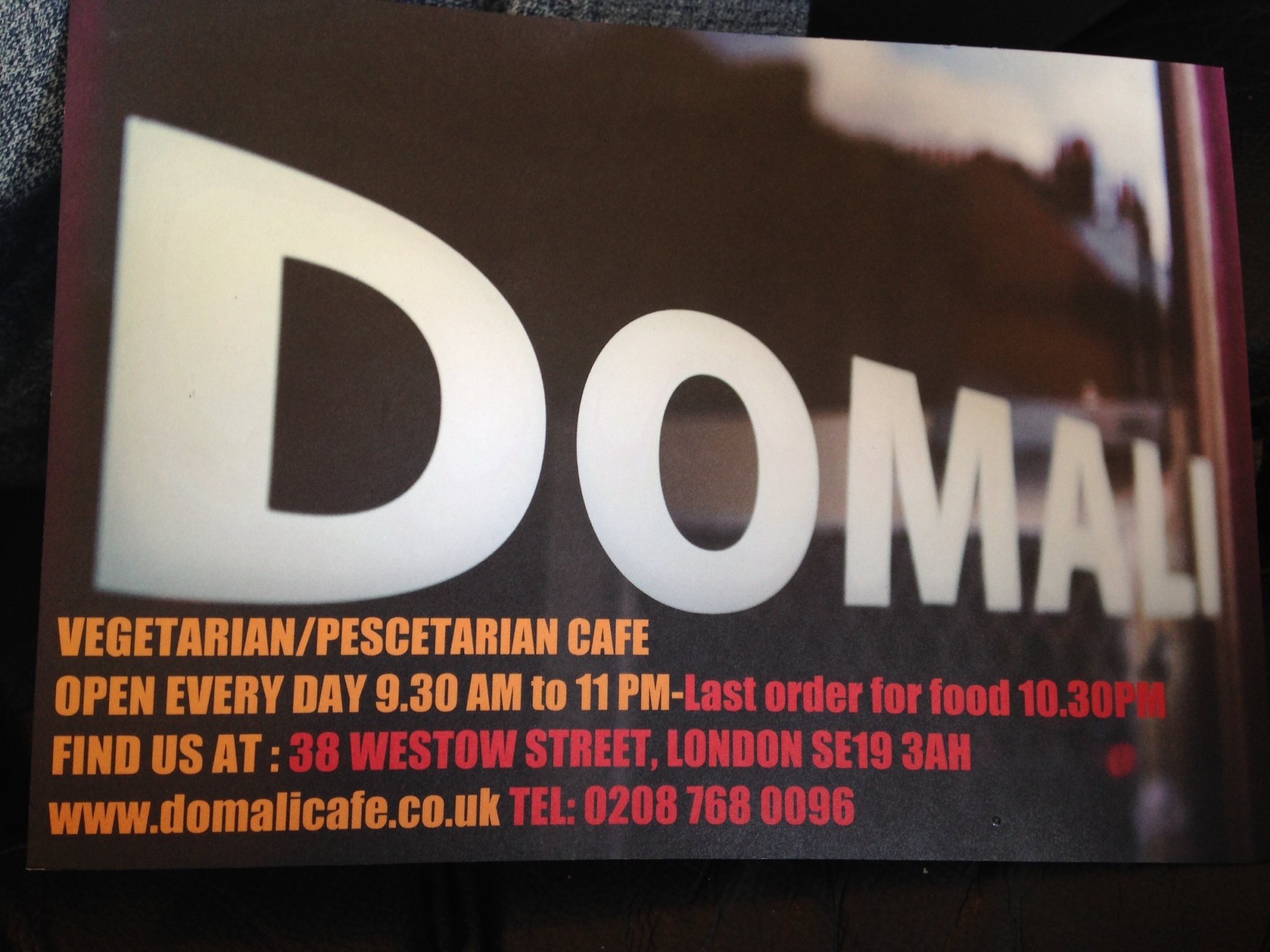 Vegetarian and vegan food at Domali, SE19