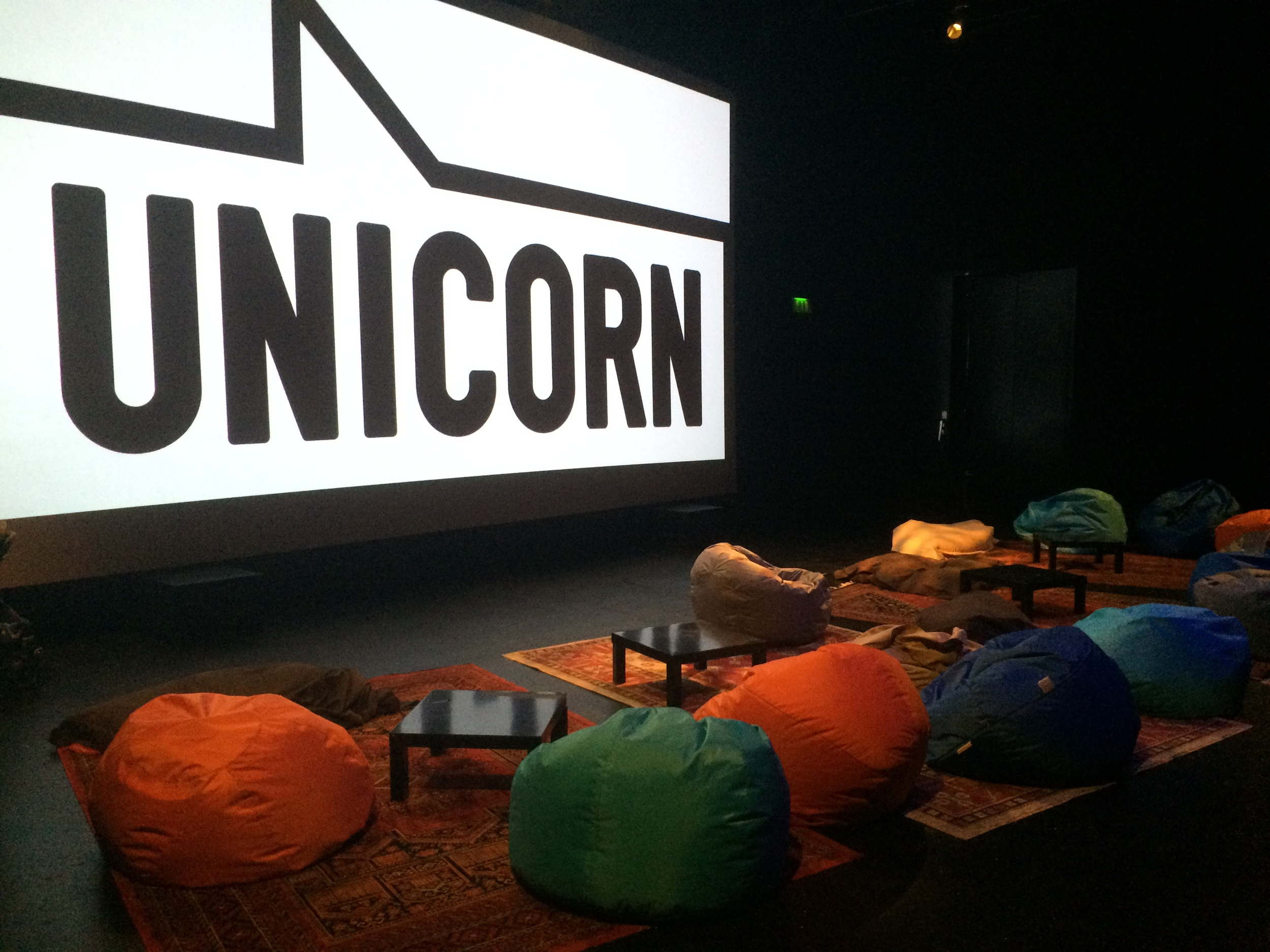 The cosy seating area in the Unicorn Theatre's Summer CineClub screening