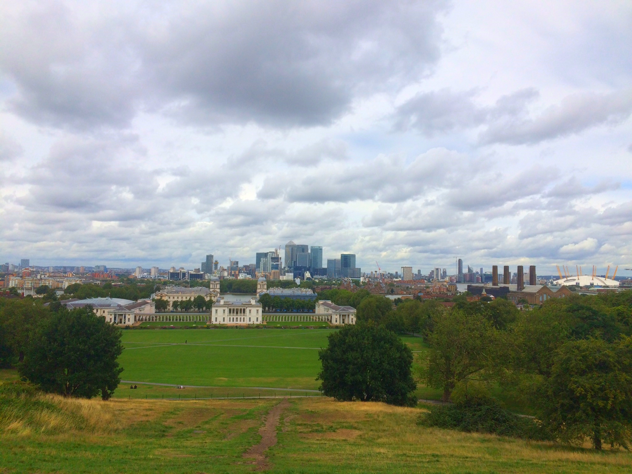 The panorama across London from the top of Greenwich park