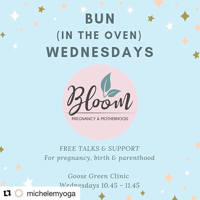 #Repost @michelemyoga with @get_repost ・・・ Can not wait for this!! Please come if you can 🌟  Bun Wednesdays - free talks for mums-to be – launches ‪16 January‬ with a session on sleep with top tips from @hypnobirthingplace Zoe Donkin of 10:45 – 11:45‬ at the Goose Green Clinic, East Dulwich SE22,  No need to book, free tea and cake, 🎂 ☕️ meet other local mums-to-be, 🤰🏽 what's not to love! Join in the pregnancy yoga class ‪at 9:30 am‬ if you fancy it. 🧘‍♀️ Bun Wednesdays is presented by Bloom, a new collective of experienced local practitioners dedicated to women's wellbeing in pregnancy and postnatally.  More about us soon!! 🤗 ✨Join us, and our Bloom friends, every Wednesday  for free talks covering all aspects of pregnancy including ‪23 January‬: Comfort in Pregnancy with Louisa Henderson, women's health osteopath, ‪30 January‬ Midwife Vicky Perkins from The Group on Aromatherapy in Labour, ‪6 February‬ Midwife and lactation consultant Nicky Harris on getting the best start with breastfeeding, ‪13 February‬, Sarah Tessier Doula on planning your Babymoon and ‪20 February‬ midwife Rachel Barlow of Takes and Village and London Slings on caring for your new baby.  Really Looking forward to seeing you there!💖