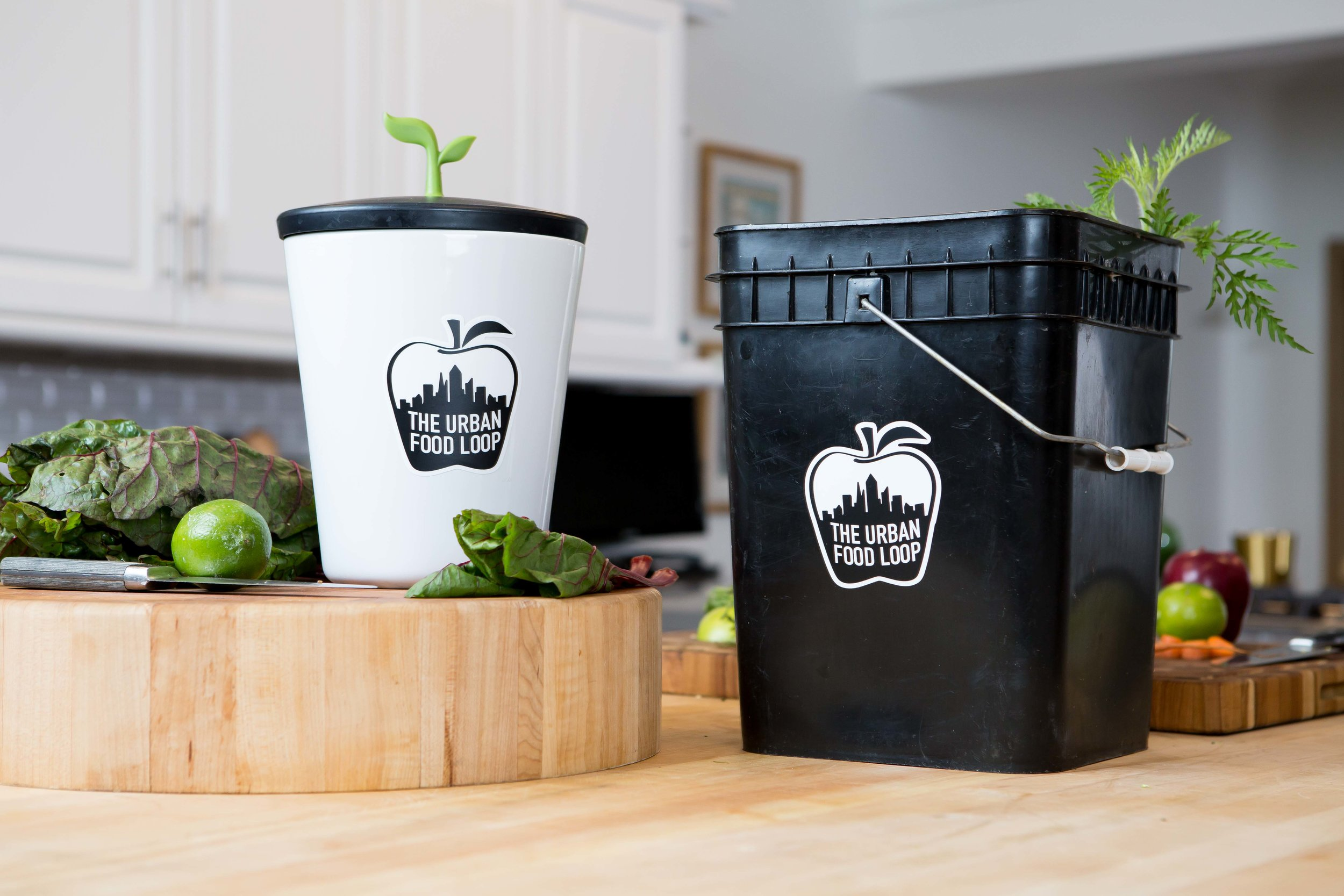 They supply you with a counter top container as well as buckets they rotate each week.