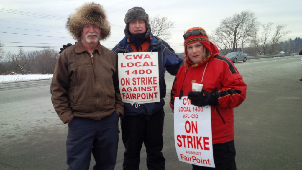 Goodkind, in his trademark fur hat, supports striking FairPoint Communications workers in February. Photo courtesy of the Goodkind campaign
