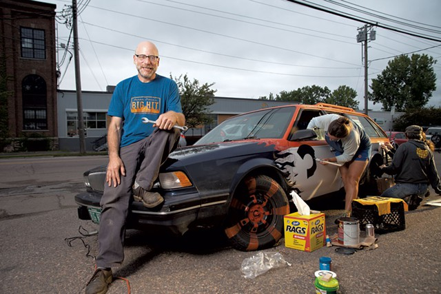 Aaron Stein with his car, Eunice Bloom. Photo by Matthew Thorsen,  Seven Days .