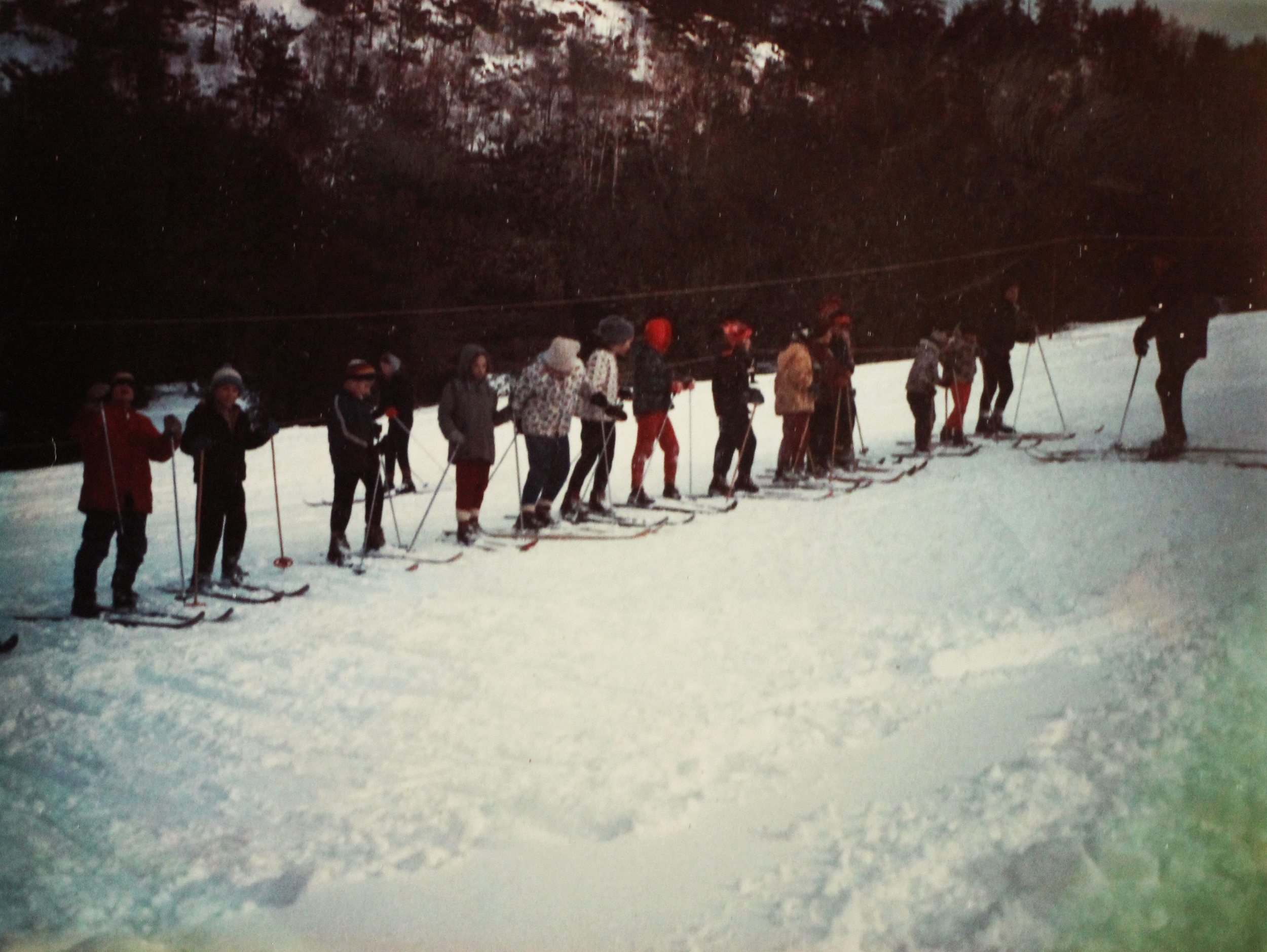 Getting in line at Otis ski hill. Courtesy of Jeff Alott.