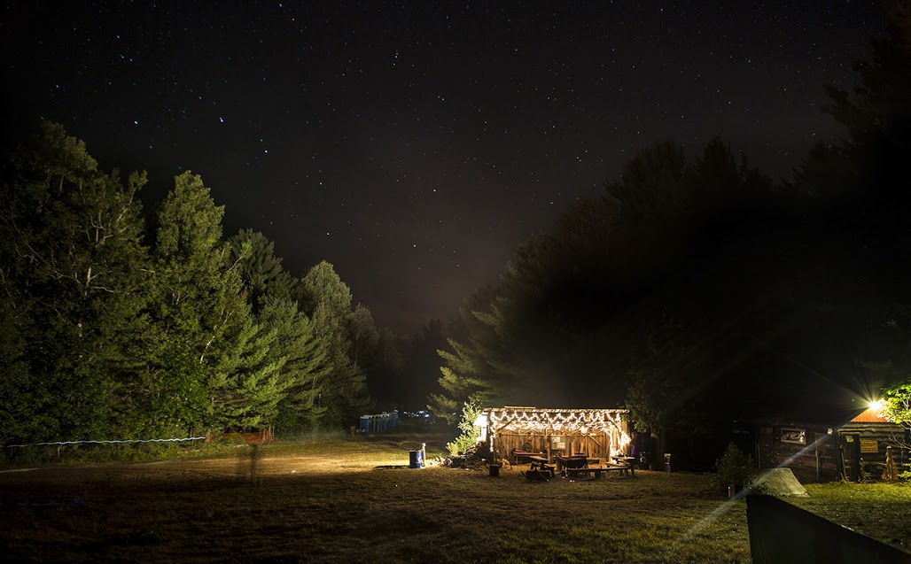 The Lean-To at night as seen from uphill. Photo by Shaun Ondak.