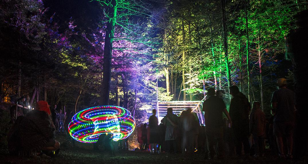 """The Bog"" lights up at night. Photo by Shaun Ondak."
