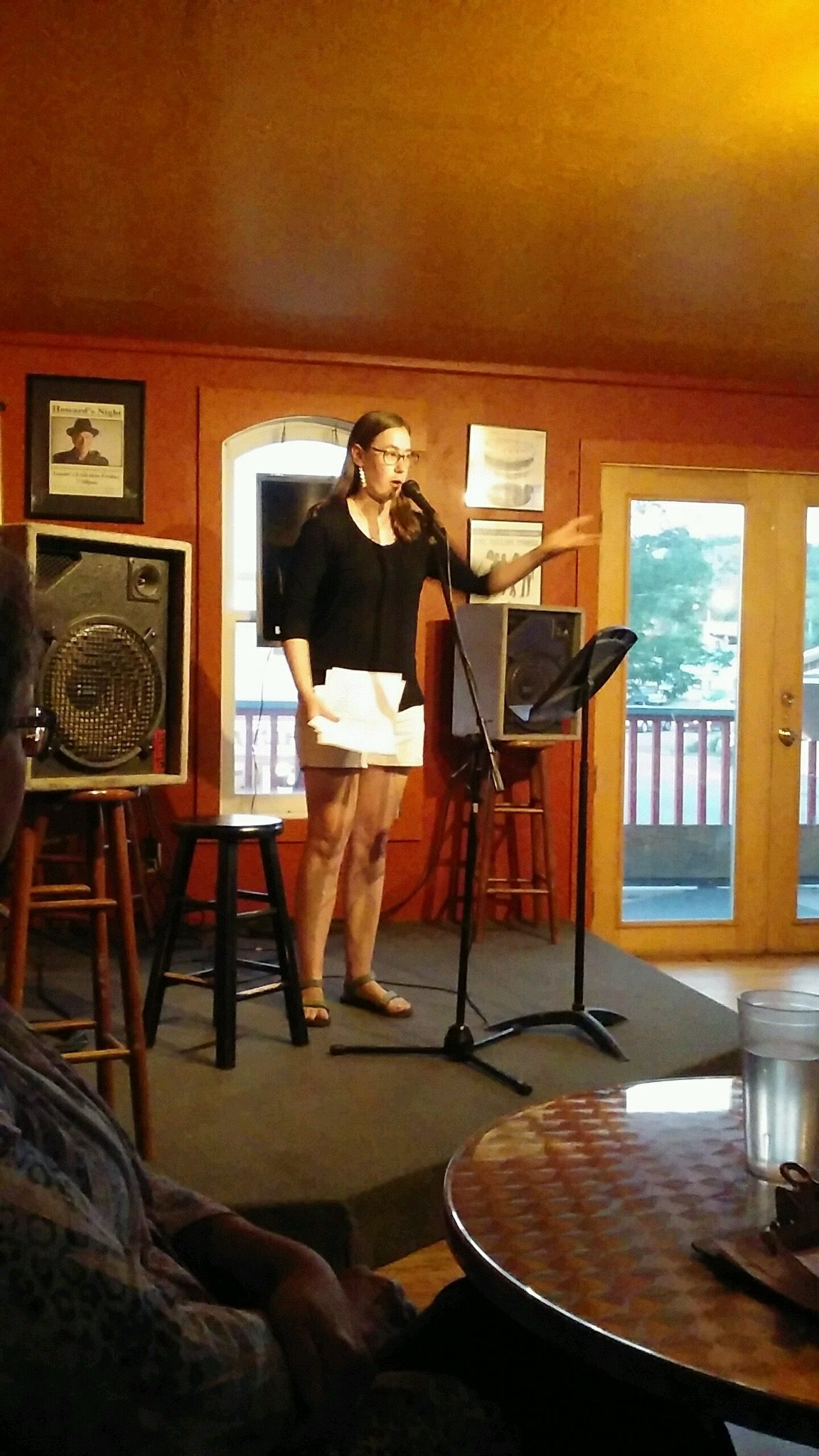 Gesturing dramatically during Open Mic.