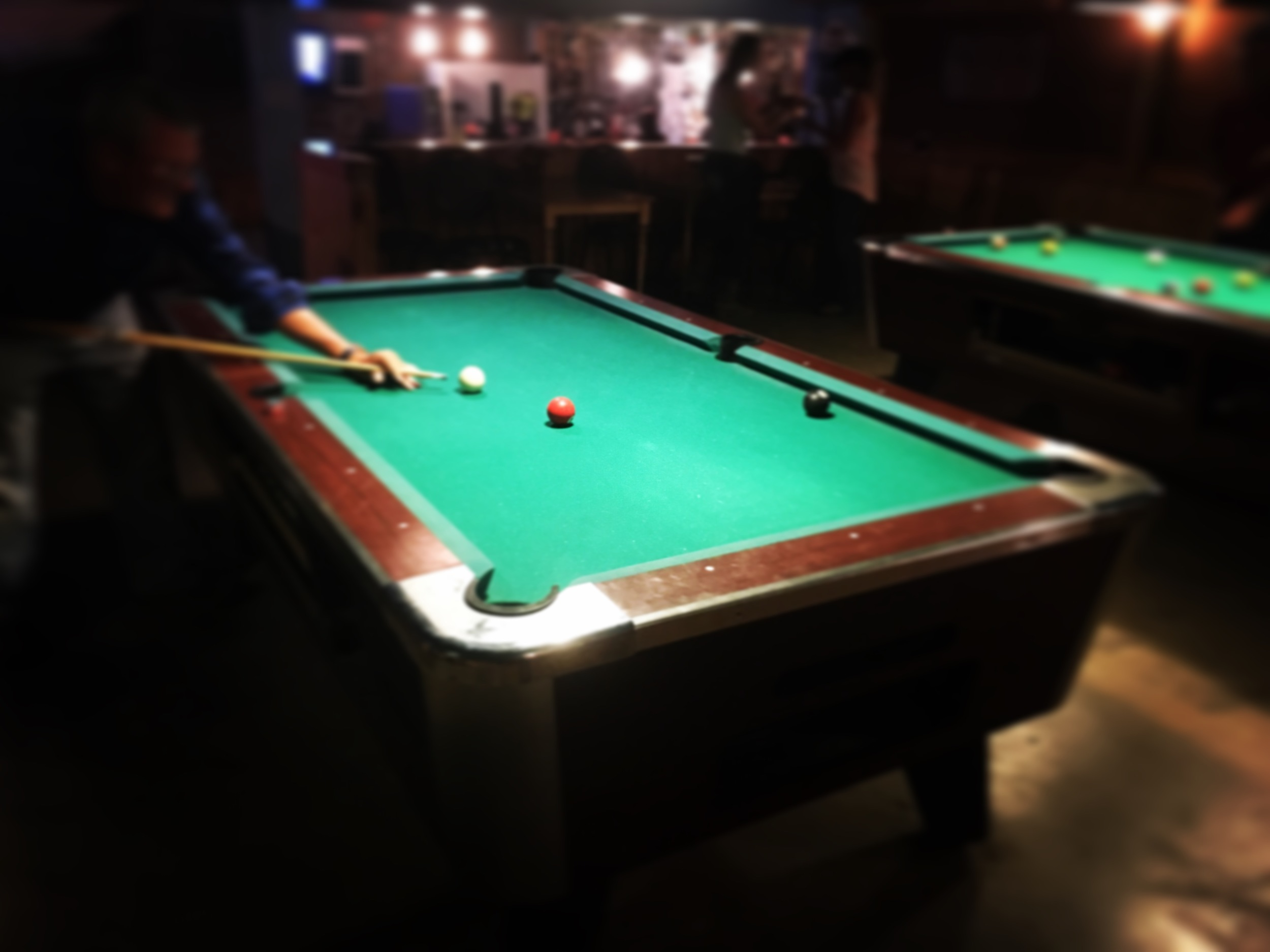 Larry getting ready to sink the 8-ball.