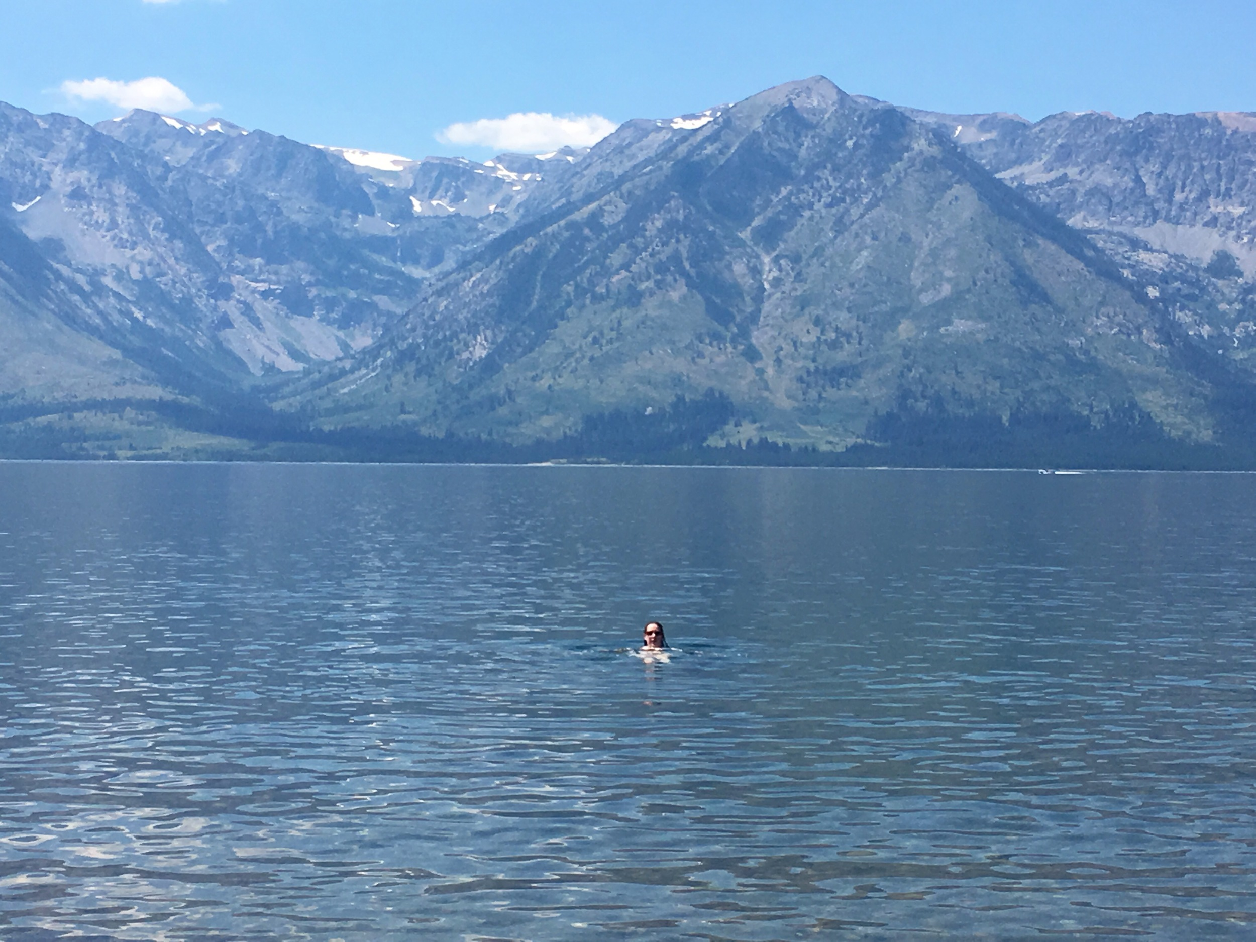Liz enjoys a lake splash.