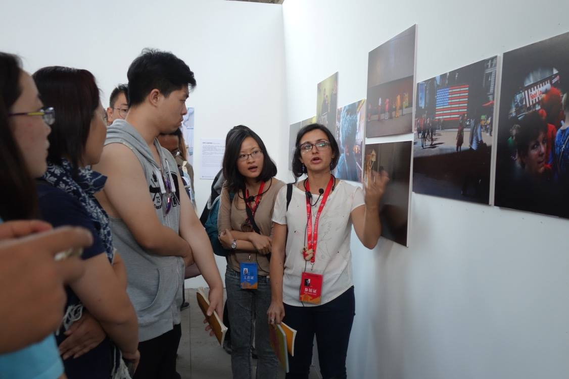 Myself at the exhibition presenting Foto Féminas' exhibition at Pingyao International Photography festival. Pingyao, China. 2016