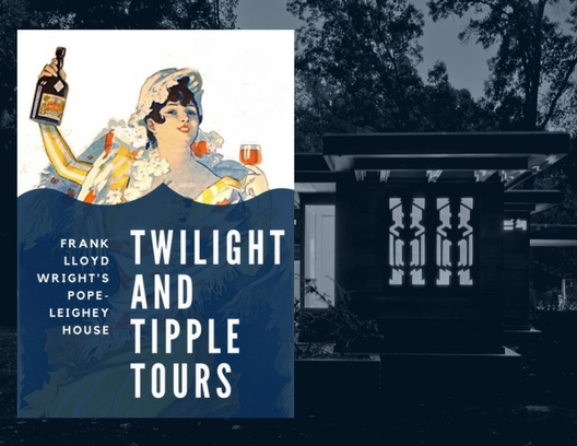 Twilight & Tipple Tuesday Tours! - Join us this season for a unique opportunity to experience Frank Lloyd Wright's Pope-Leighey House by twilight! Our tour series is a rare chance to see one of Wright's houses illuminated against a night sky, bringing a whole new dimension and radiance to the typical tour experience. We only offer a few tours a year in the evening, so seize this great opportunity today! Grab a drink, which is included in the price of your ticket, and take an informative and fun open-house tour with plenty of time to take stunning photos.This season's Twilight & Tipple Tours will take place on May 21, June 25, July 30, August 27, September 10, September 24, and October 22.
