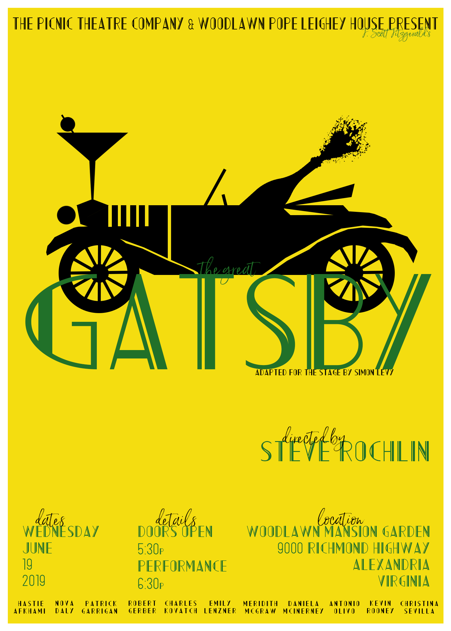 Picnic Theatre Company Presents: The Great Gatsby - CLICK HERE FOR TICKETS!! On Wednesday June 19, be transported to the mansion of mysterious multimillionaire Jay Gatsby for a summer party! Picnic Theatre Company returns to Woodlawn Mansion garden for a Roaring Twenties cocktail hour, music and live action one- act performance of F. Scott Fitzgerald's The Great Gatsby.Join us in the Woodlawn Mansion fountain garden for drinks, a picnic, and a wild theatrical romp! At 5:30pm the garden opens for cocktails and picnicking, performance is at 6:30 pm, with no intermission.We will have drinks for sale to accompany the picnic dinner you have brought from home. Or, dinner is on us – purchase a pre-packaged picnic dinner and we will have it waiting for you! Dinner options will be sent to all attendees a few weeks before the event.