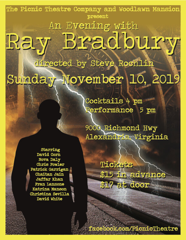 Picnic Theatre Presents: An Evening with Ray Bradbury - On Sunday November 10, join Picnic Theatre Company at Woodlawn & Pope-Leighey House for An Evening with Bradbury!Be transported to this 1950's vision of the future at the dawn of the atomic age, with a one act multimedia staging of two short stories from America's master of mystery, Ray Bradbury, and bonus campy ads on Dimension X radio! Tickets are $15 in advance, $17 at the door. The house will open for cocktails at 4pm, with a 5pm performance in the Underwood Room.