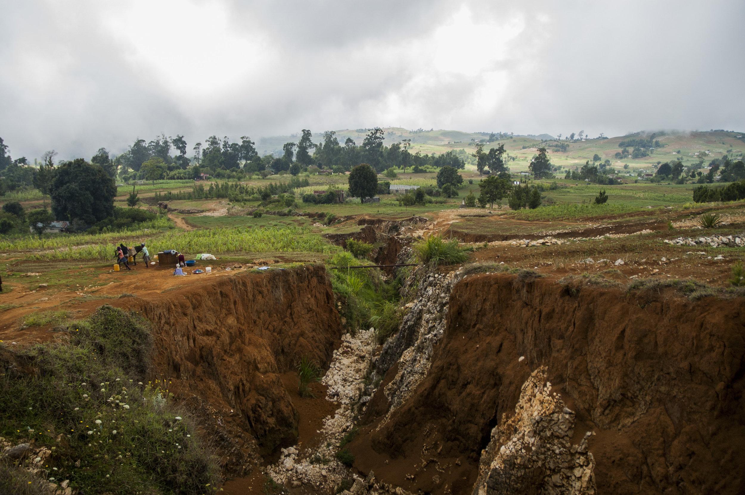 Landscapes carved by erosion due to deforestation