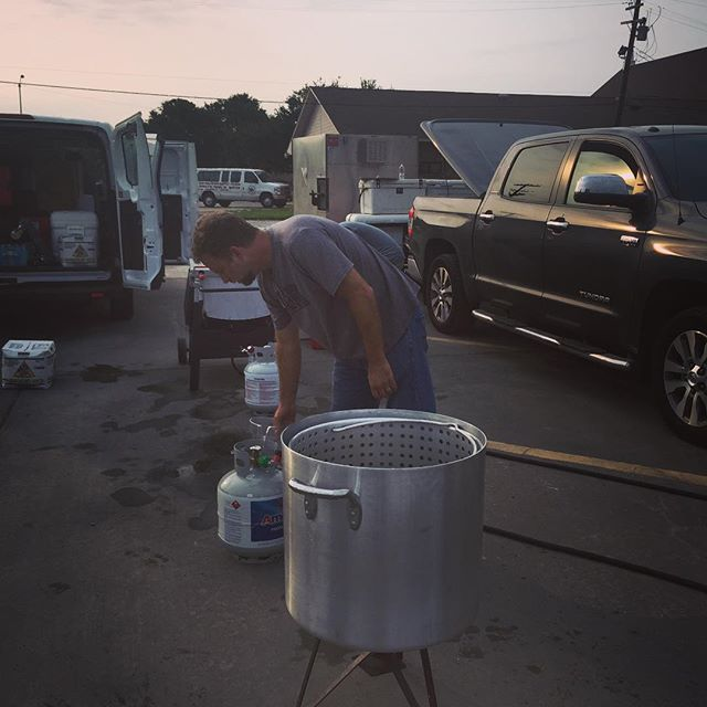 Early morning @pberrigan & @broleblanc setting up our makeshift kitchens here in #portarthurtx many Thx to @justin_devillier @cheferickloosiv @chefbrianlandry @drakeleonards for prepping such delicious food for us to serve to the truly #hungry bless all of you for the support! #friends #givingback #recovery #beshfoundation #beshrestaurantgroup