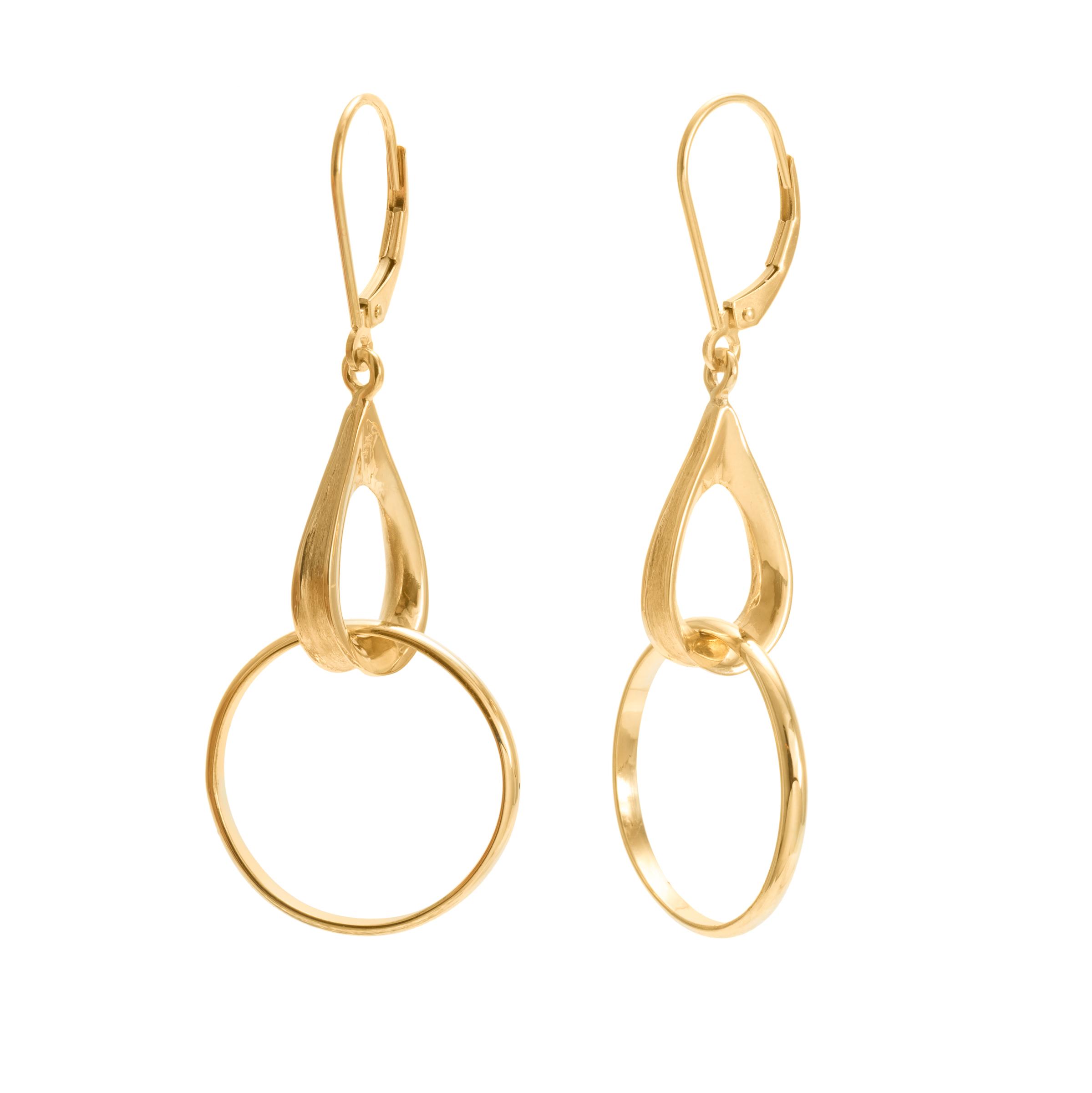 14KY Hanging Hoop Earring