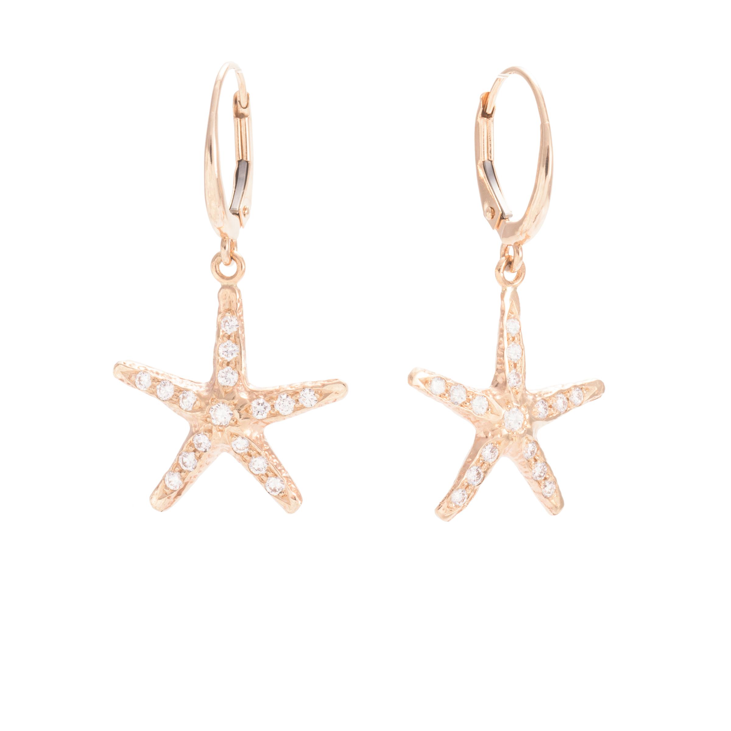 Diamond and 14KY Gold Starfish Earrings by Petri Kymlander $1580