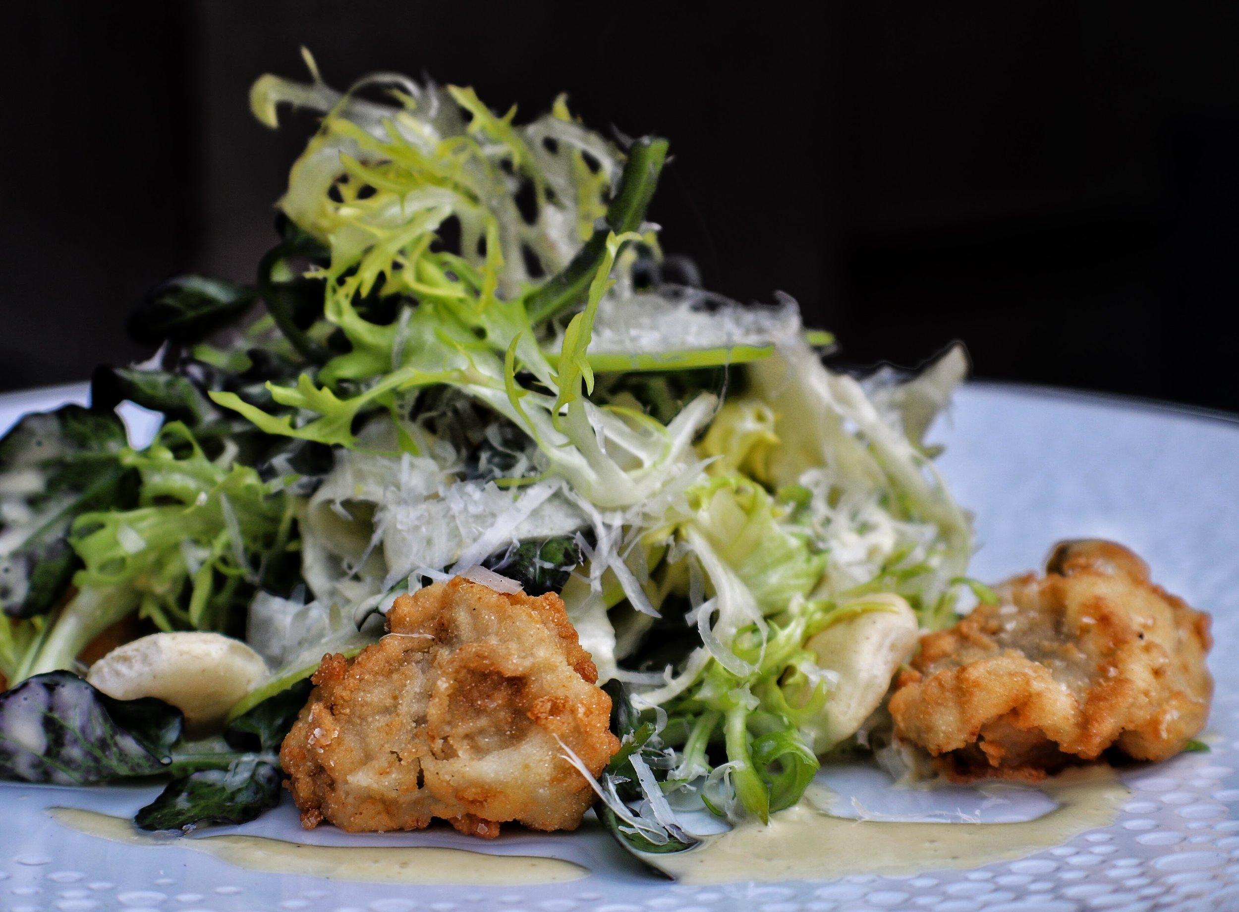 Oyster* Rockefeller Salad   oyster cracker crouton, Pernod dressing