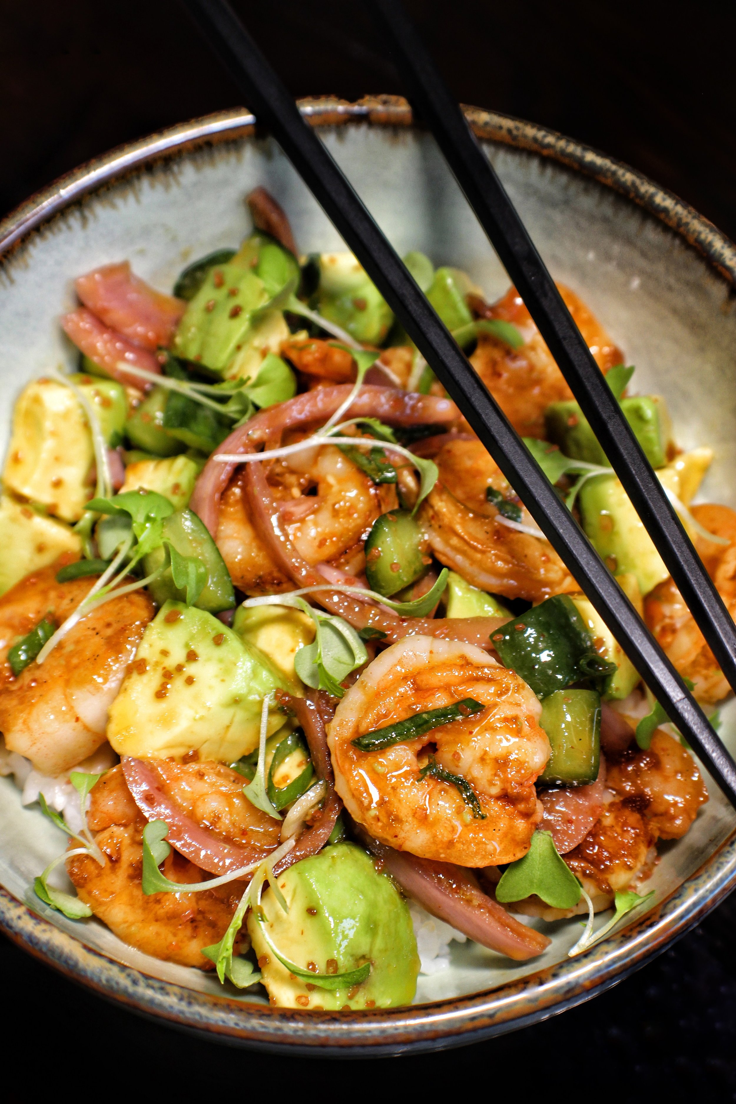 shrimp poke bowl  avocado, cucumber, pickled red onion, rice